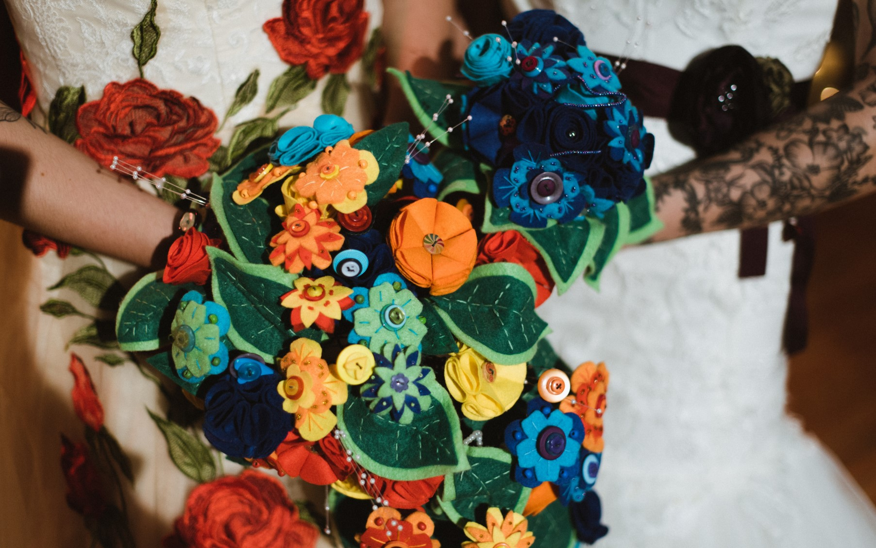 Eclectic Wedding- Alexandra Holt Photography- The Boo Theatre- Unconventional Wedding- Unique Wedding- Quirky Wedding- Halloween Wedding- Unique Bridalwear- Alternative Bridalwear- Unique Wedding Dress- Colourful Wedding- Alternative Wedding- Alternative Bouquet- Felt Bouquet- Unique Wedding Bouquet