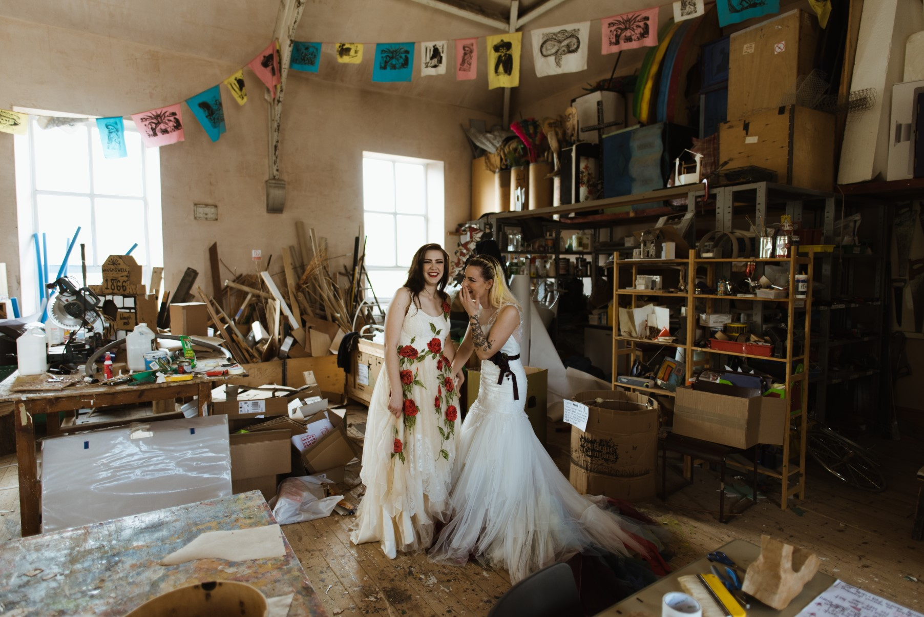 Eclectic Wedding- Alexandra Holt Photography- The Boo Theatre- Unconventional Wedding- Unique Wedding- Quirky Wedding- Halloween Wedding- Unique Bridalwear- Alternative Bridalwear- Unique Wedding Dress- Colourful Wedding- Alternative Wedding- Alternative Bouquet