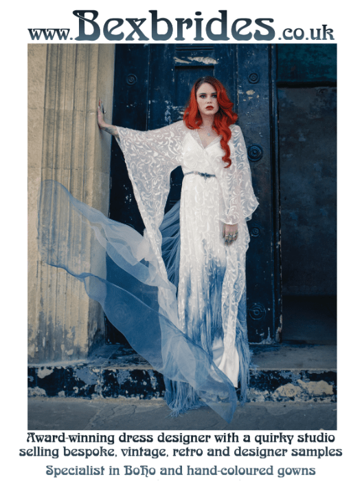 Bexbrides alternative wedding dress unique bridal wear ombre dip dye recycled boho
