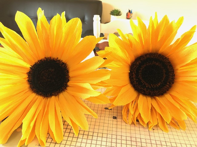 tykki - cornish meaning pretty thing - paper flowers - wedding decorations - sunflowers