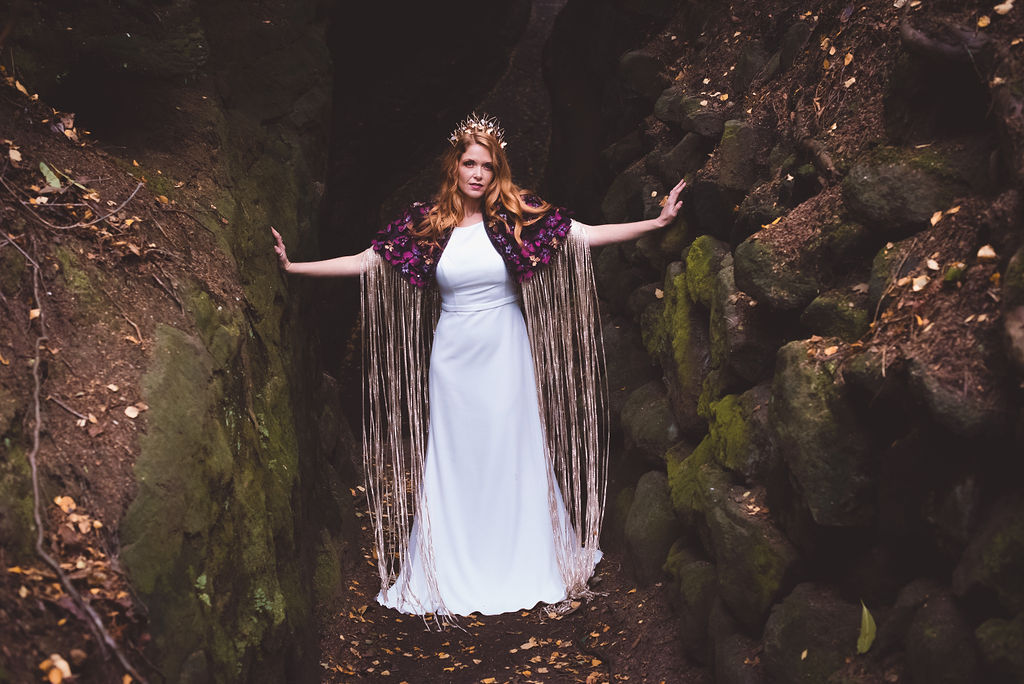 Autumn Wedding, Fantasy Wedding, Winter Wedding, Unconventional Wedding, Alternative Wedding, Alternative Wedding Dress- Bridal Cape- Unique Wedding Ideas- Outdoor Wedding
