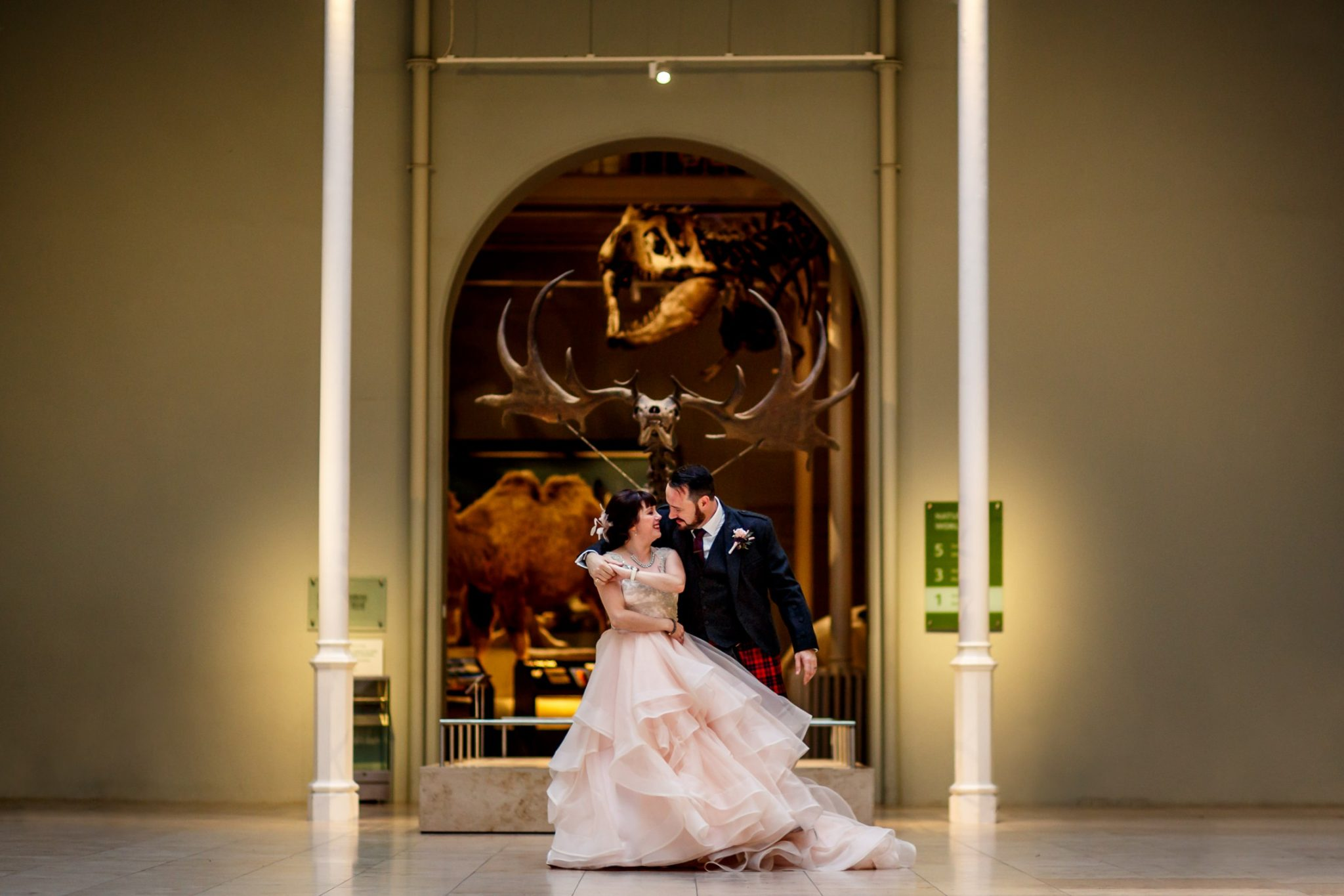 Unique Wedding Venues- Unconventional Wedding- Lina & Tom Photography- Wedding Photos by Fossils in museum