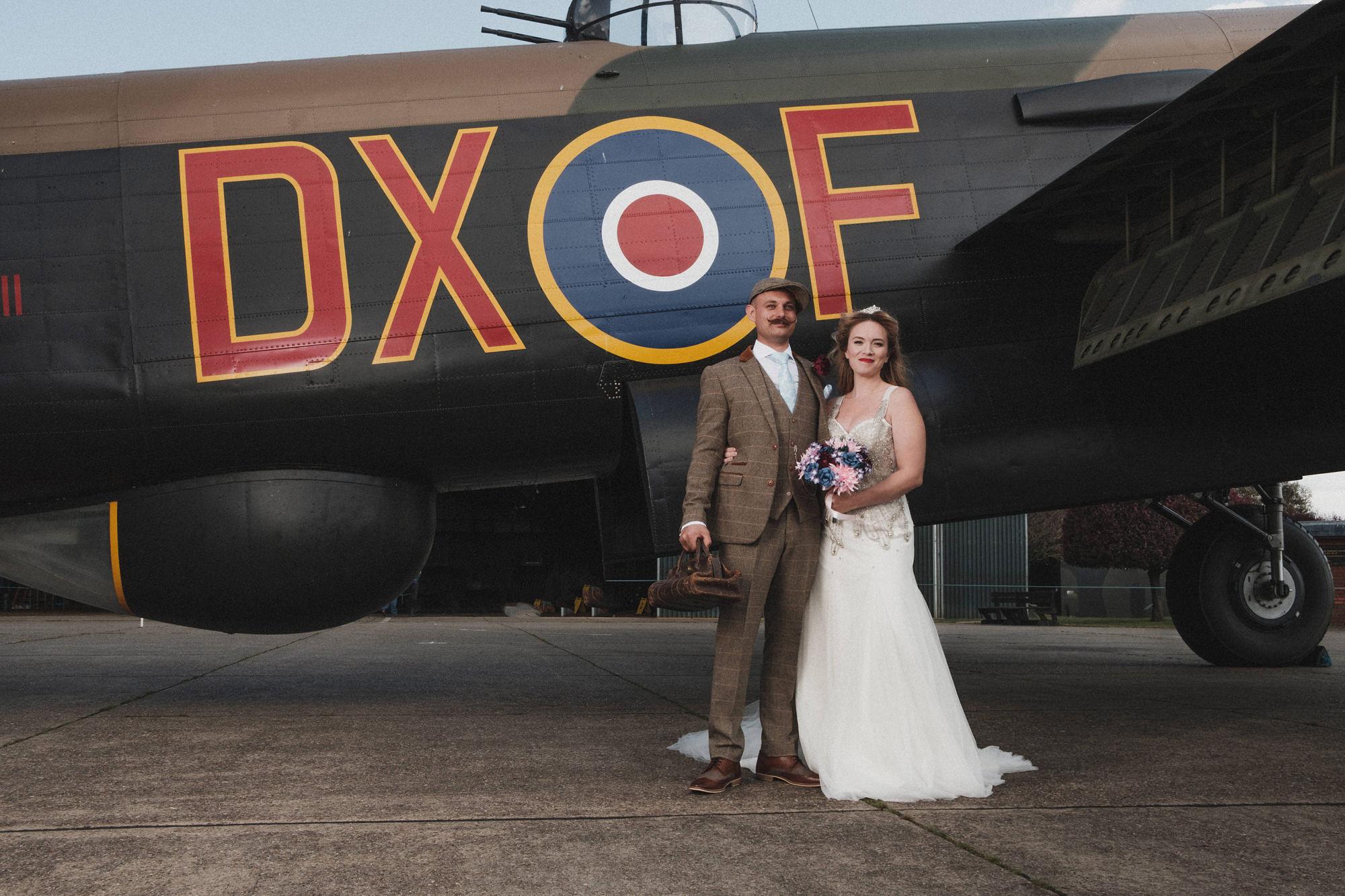 Heritage Aviation Wedding, Second and Wedding Dress, 1940s Wedding, Unconventional Wedding, Alternative Wedding, Vintage Wedding