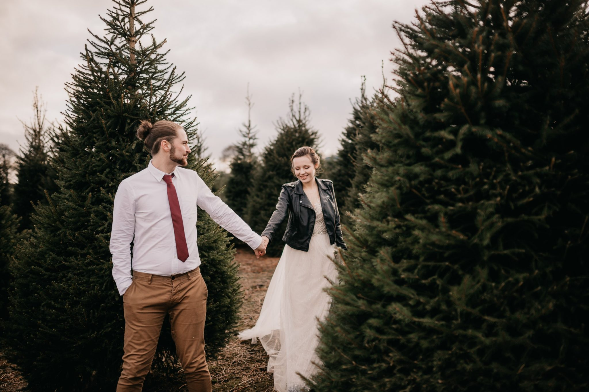 wedding at a christmas tree farm