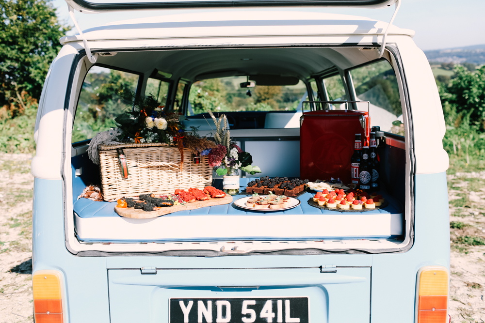 picnic in the back of a camper van - micro-wedding - forest elopement - small weddings - alternative wedding - outdoor wedding - covid wedding