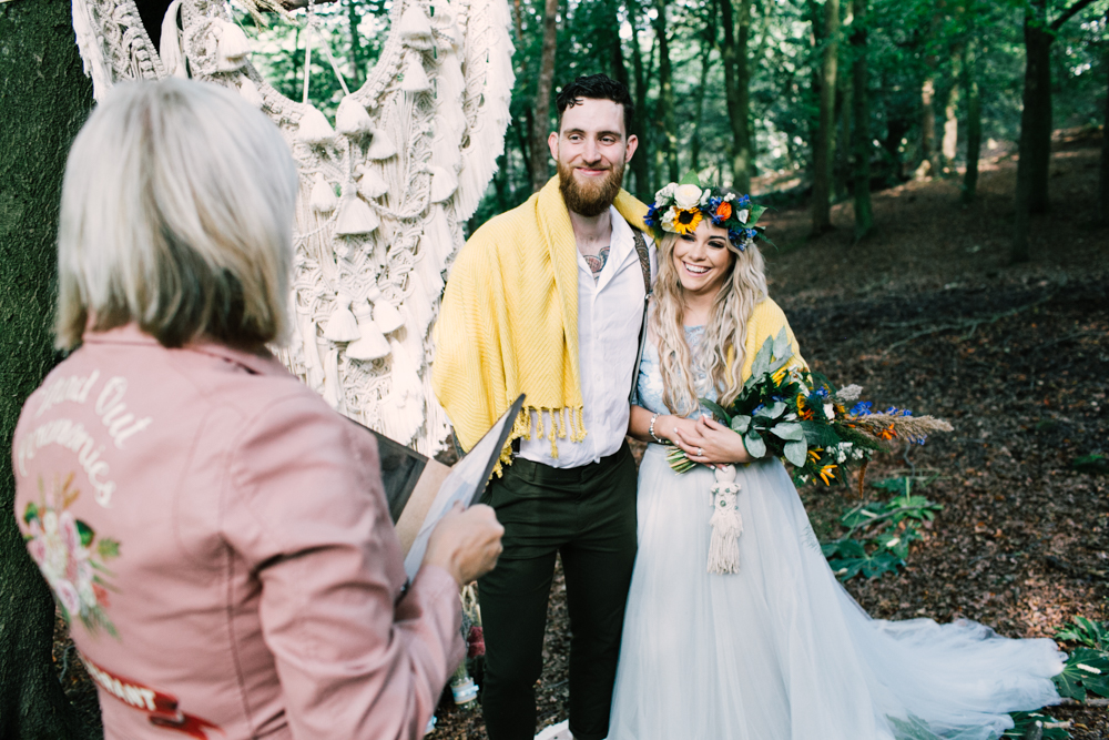 celebrant wedding ceremony in the forest - micro-wedding - forest elopement - small weddings - alternative wedding - outdoor wedding - covid wedding