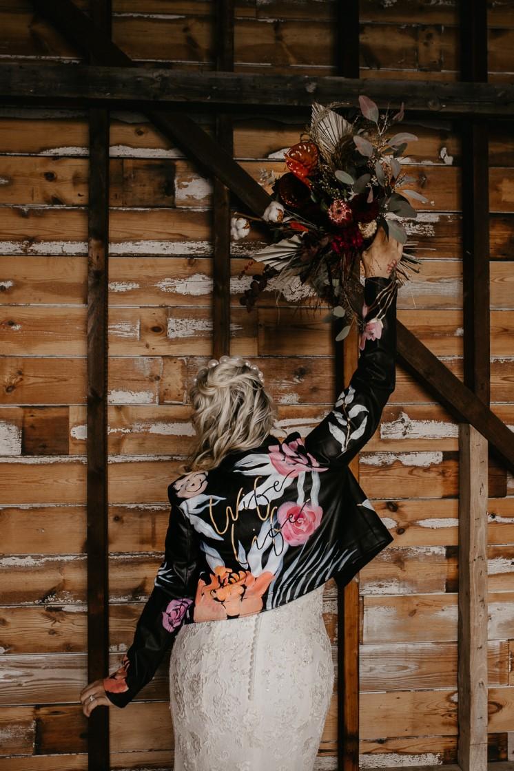 Modern barn wedding- jessica lily photography- unconventional wedding- alternative bridal styling- unique bridalwear