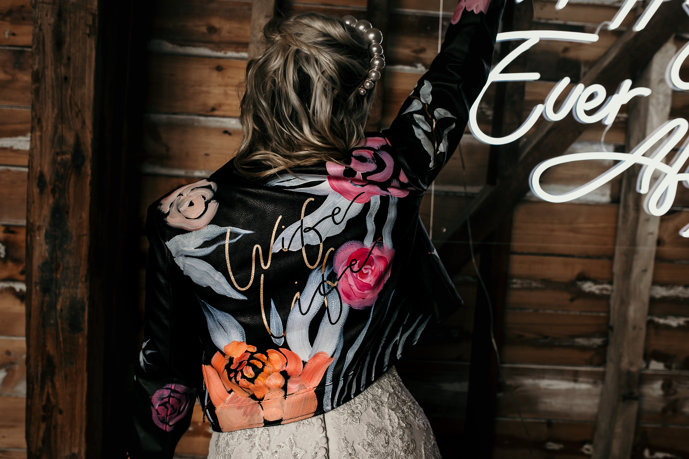 Modern barn wedding- jessica lily photography- unconventional wedding-personalised leather jacket- wedding leather jacket
