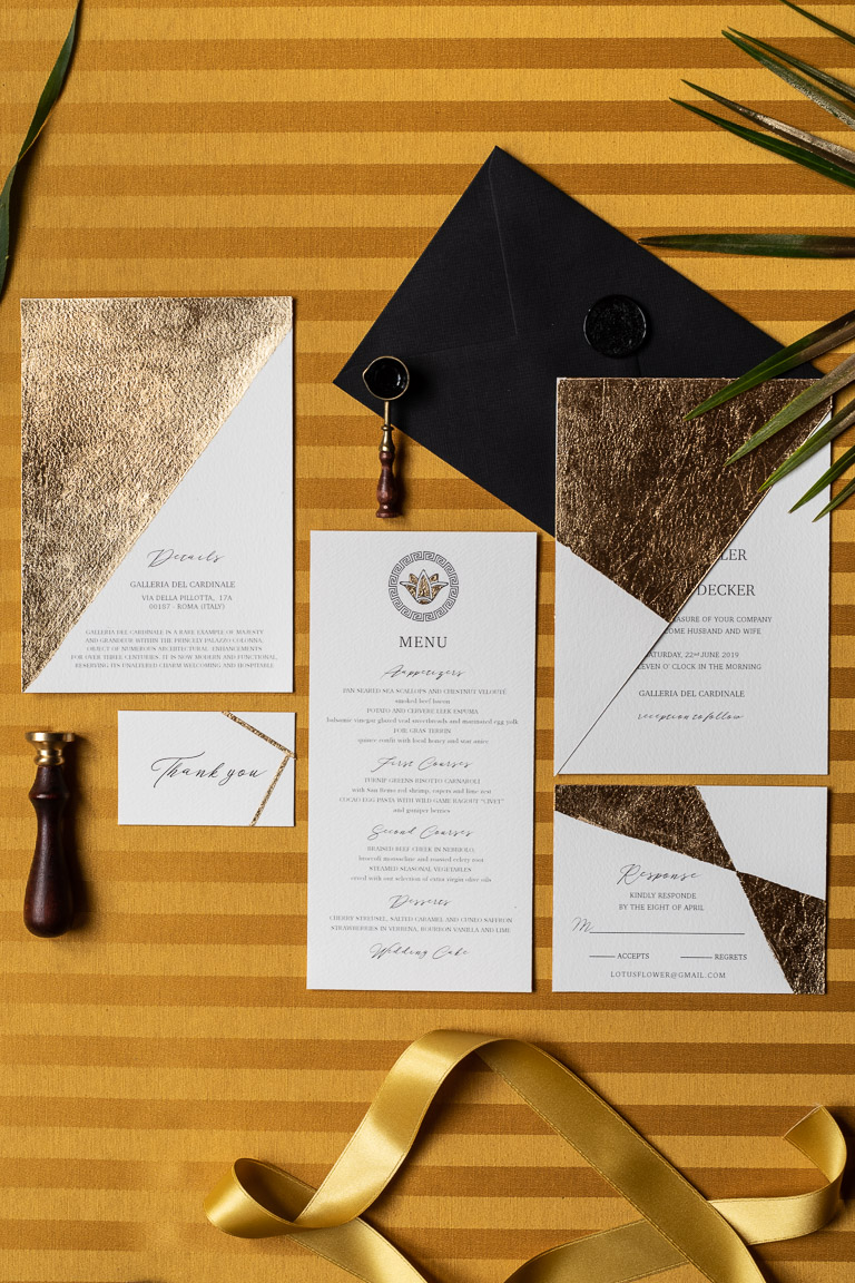 Wedding Inspiration- Marcella Cistola- wedding stationery- gold wedding invitations