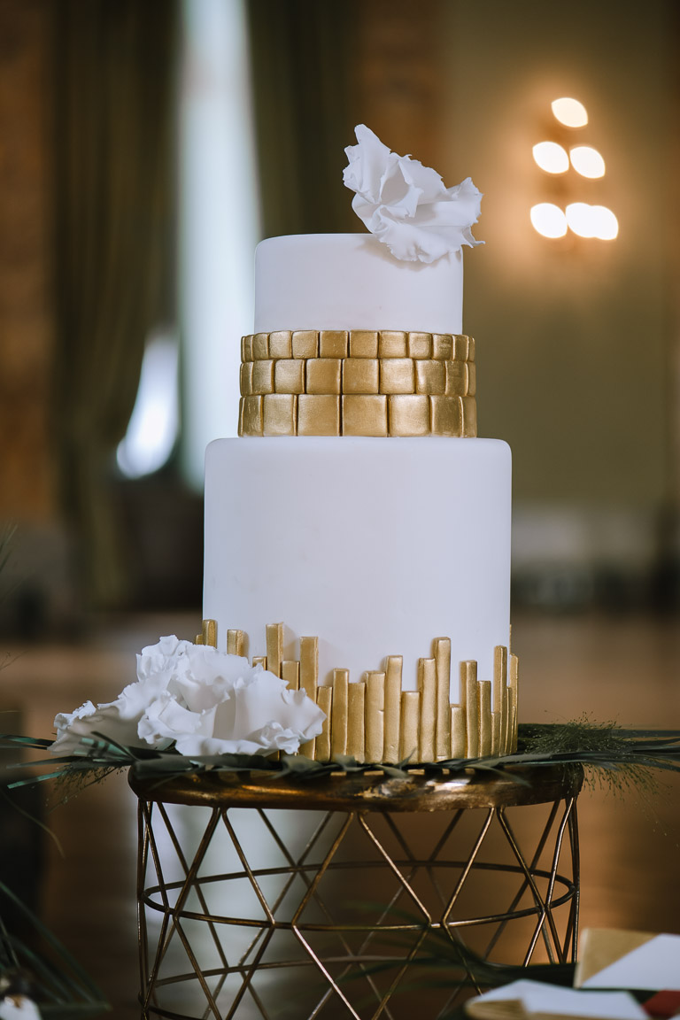 Wedding Inspiration- Marcella Cistola- geometric wedding cake- white and gold wedding cake