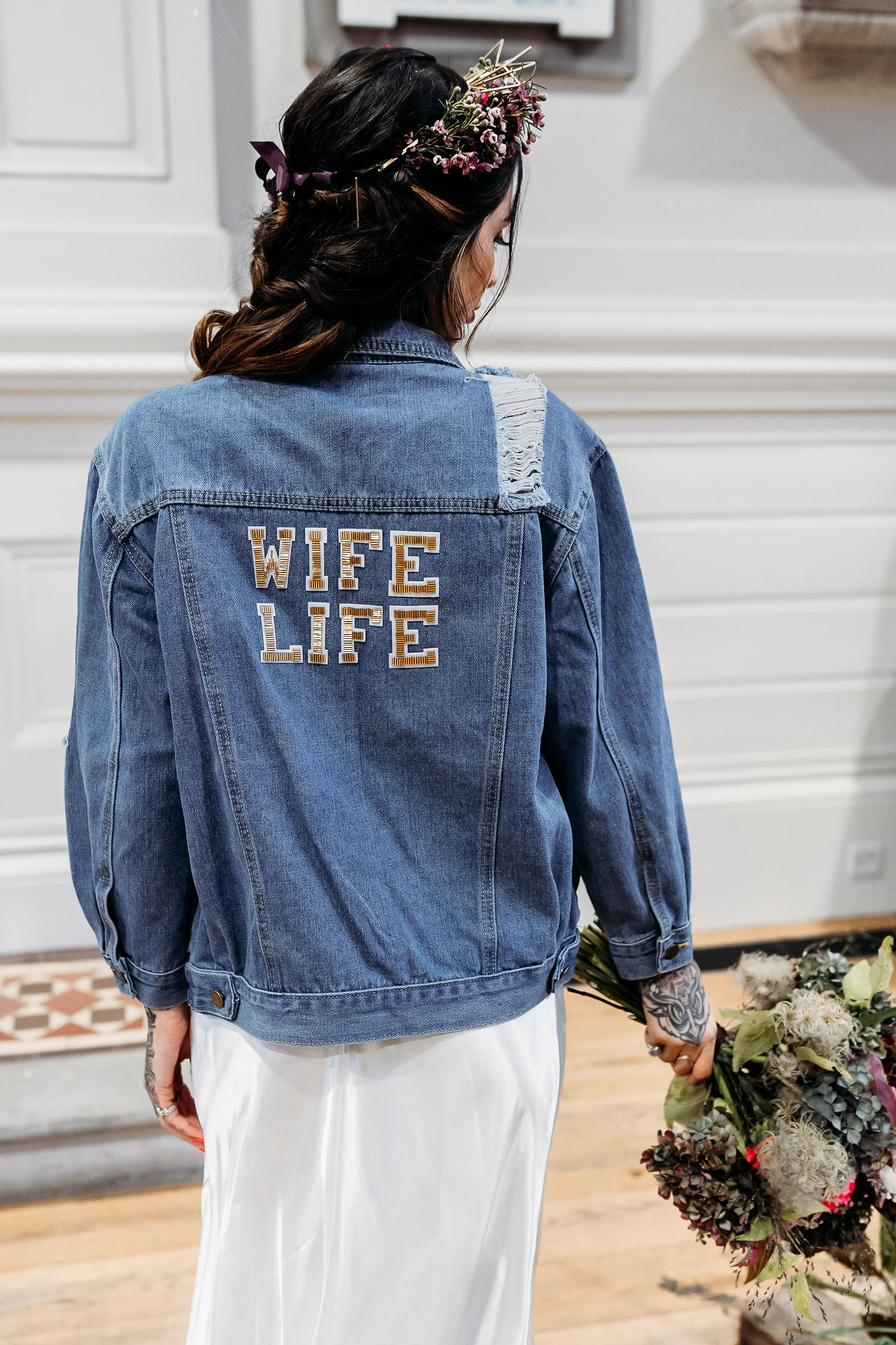 Leesha Williams Photography- Unconventional Wedding- Celestial Wedding Inspiration- alternative wedding- outdoor wedding photography- personalised denim jacket- wife life