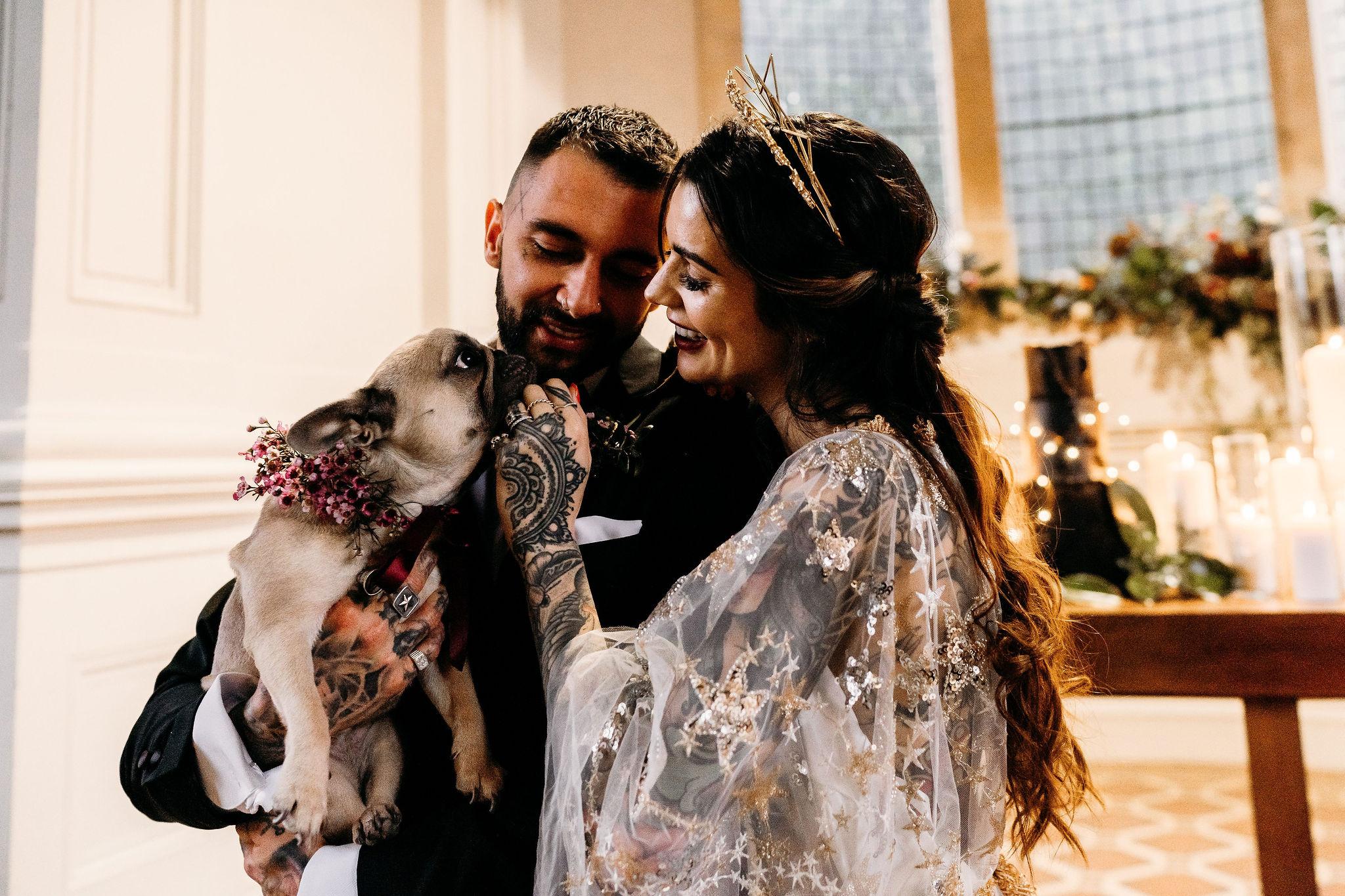 Leesha Williams Photography- Unconventional Wedding- Celestial Wedding Inspiration- alternative wedding- wedding pug