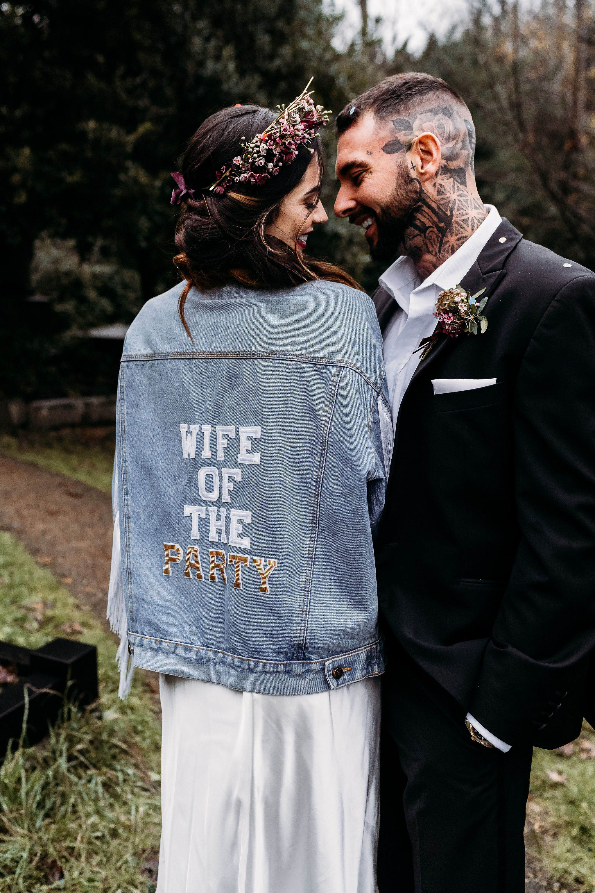 Leesha Williams Photography- Unconventional Wedding- Celestial Wedding Inspiration- alternative wedding- denim wedding jacket