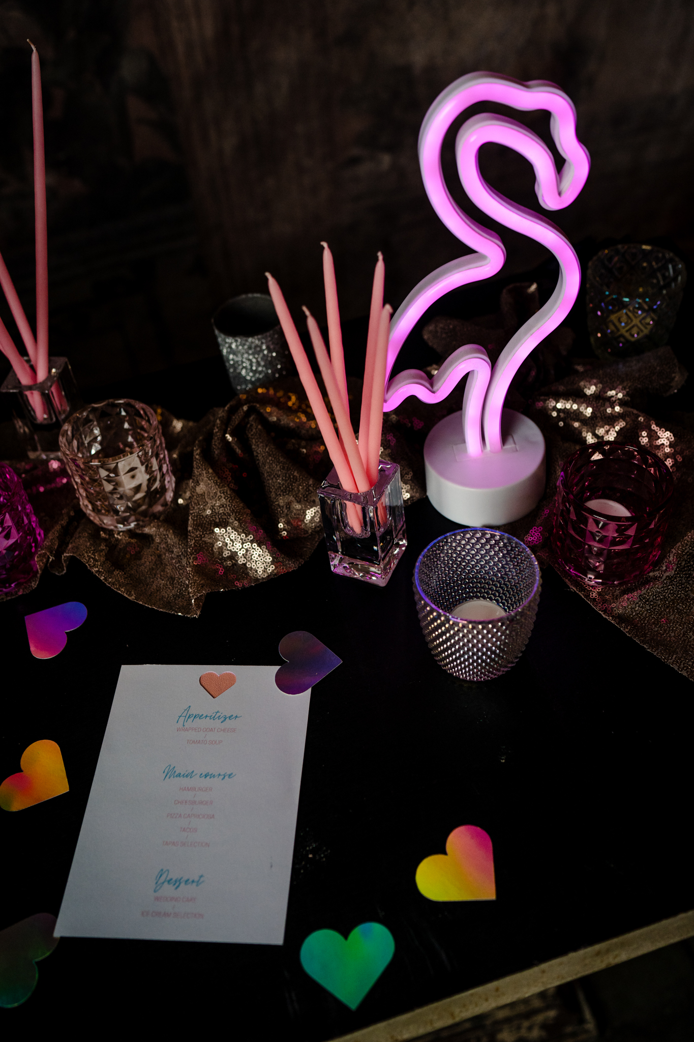 Individual Wedding Inspiration- Alexandra Fehér Photography- unique wedding inspiration-rock and roll wedding inspiration- neon wedding- lgbtq wedding- same sex wedding- neon flamingo sign