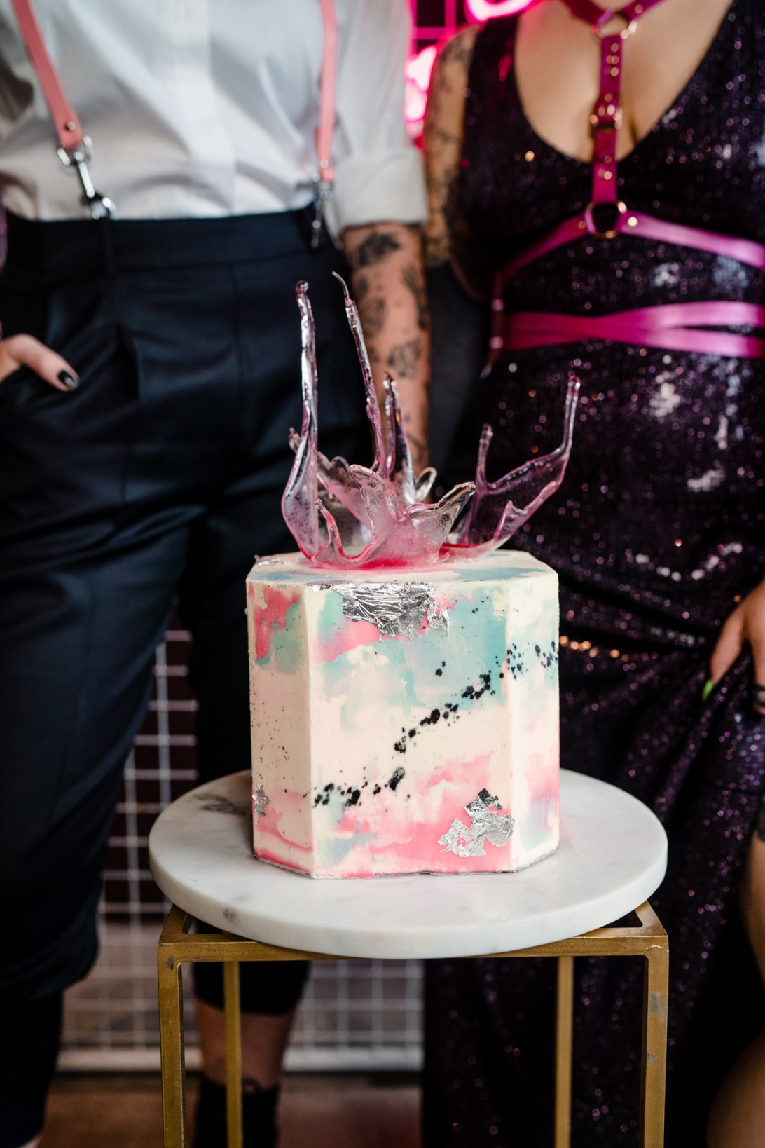 Individual Wedding Inspiration- Alexandra Fehér Photography- unique wedding inspiration-rock and roll wedding inspiration- neon wedding- lgbtq wedding- same sex wedding- unique wedding cake- quirky wedding cake- watercolour wedding cake