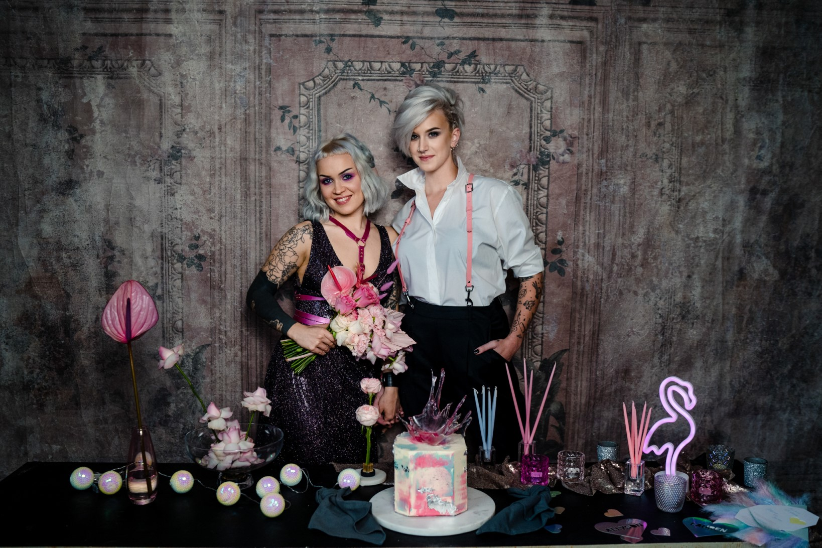 Individual Wedding Inspiration- Alexandra Fehér Photography- unique wedding inspiration-rock and roll wedding inspiration- neon wedding- lgbtq wedding- same sex wedding- edgy wedding inspiration