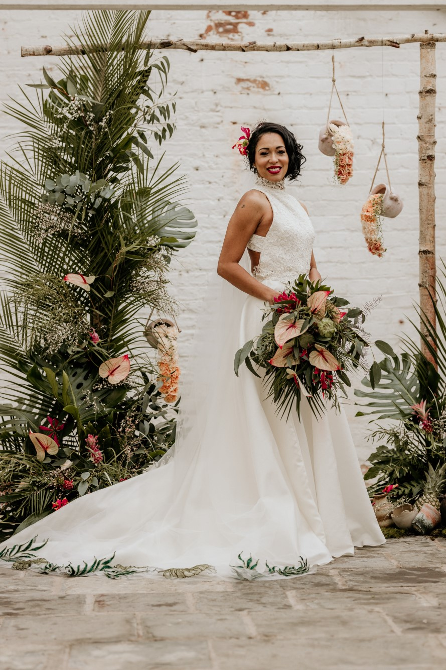 tropical opulence wedding- tropulence- twigs branch photography- unconventional wedding- wedding dress inspiration