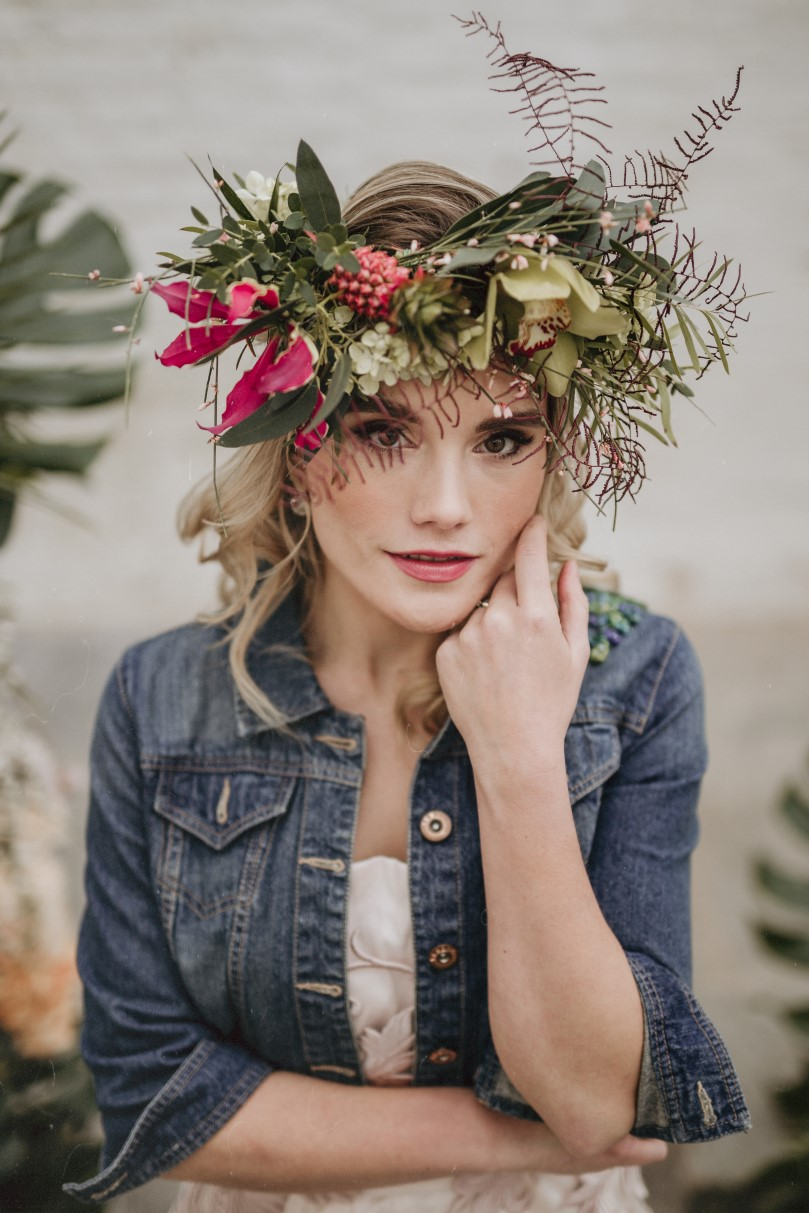 tropical opulence wedding- tropulence- twigs branch photography- unconventional wedding- bridal flower crown- wedding flower crown