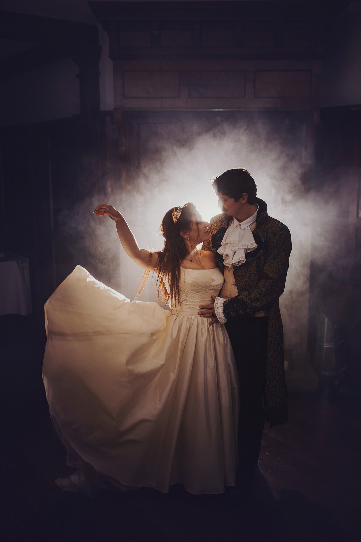 dramatic wedding couple shot from labyrinth wedding day in cornwall