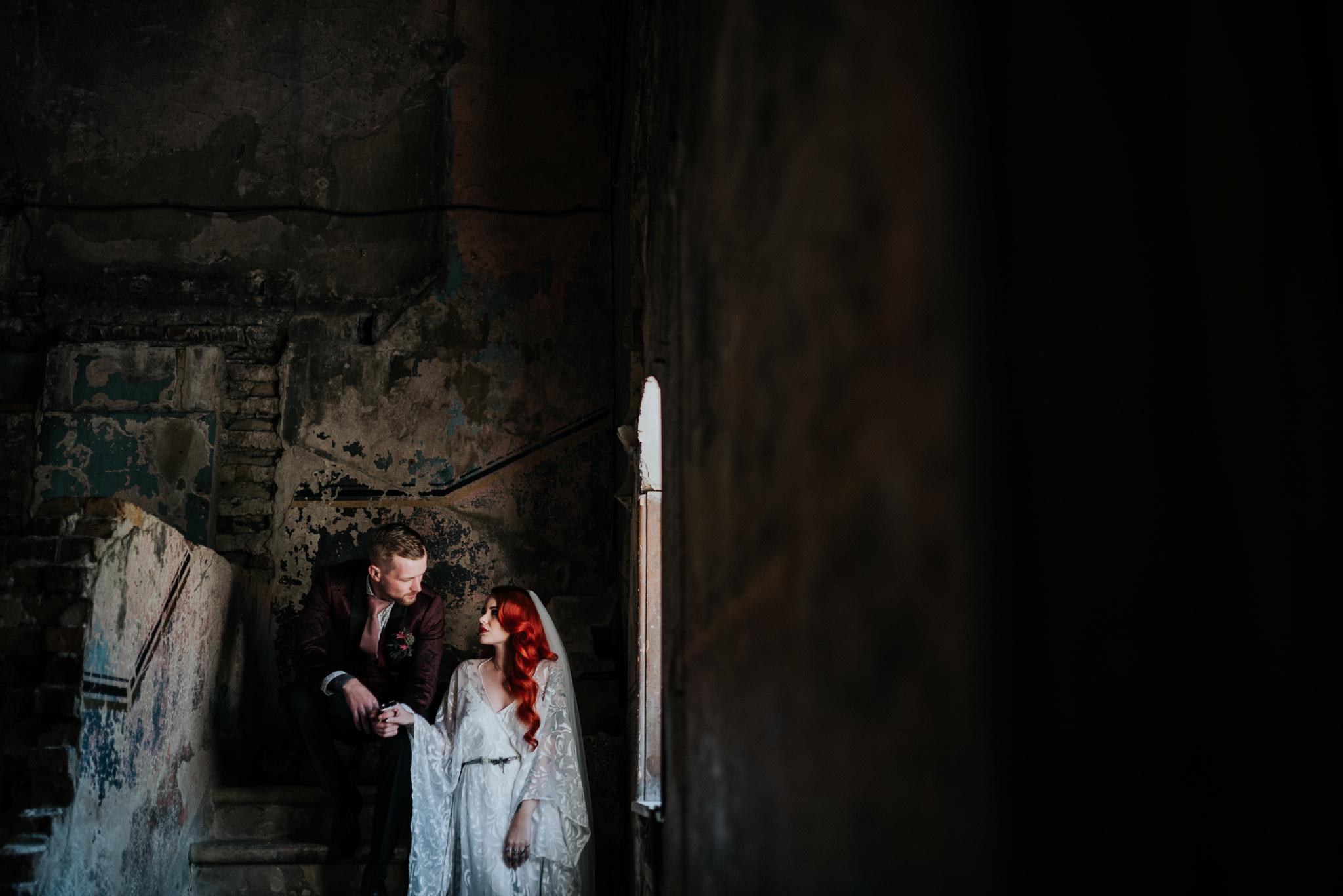 alternative chapel wedding- asylum london- unique london wedding venue- london wedding venue- Jenny Appleton Photography- dark wedding photos- edgy wedding photos