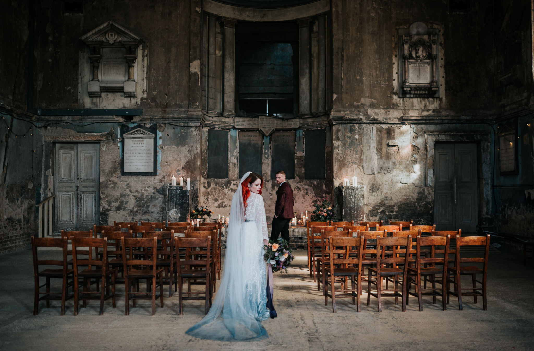alternative chapel wedding- asylum london- unique london wedding venue- london wedding venue- Jenny Appleton Photography- gothic wedding venue- dip dye wedding dress