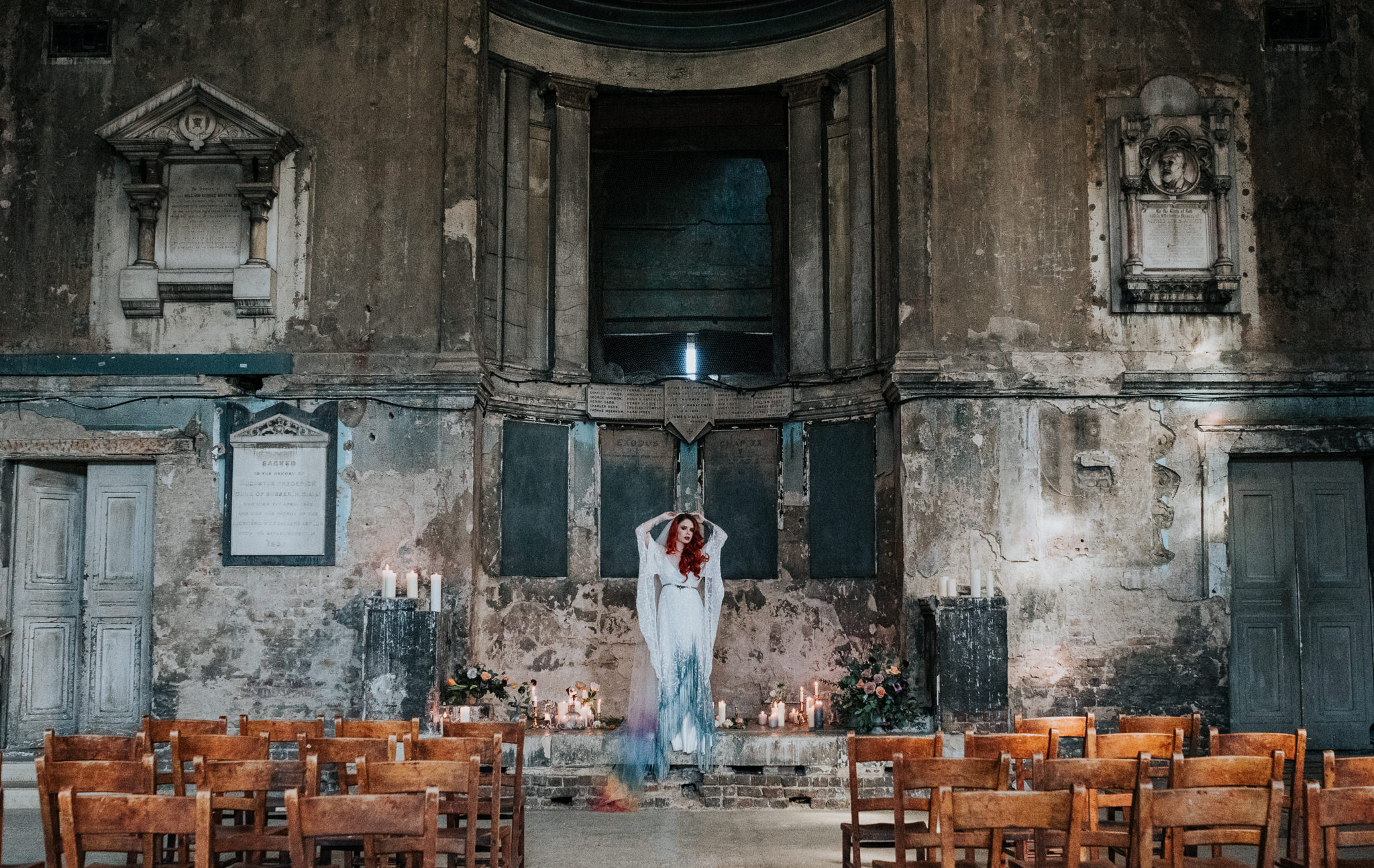 alternative chapel wedding- asylum london- unique london wedding venue- london wedding venue- Jenny Appleton Photography- unique wedding dress- alternative wedding dress- dip dye wedding dress- alternative wedding venue
