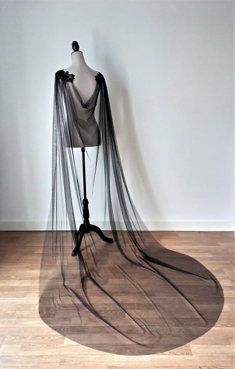 black wedding cape, bespoke wedding cape, gothic wedding, black wedding accessories, alternative wedding, alternative bridalwear