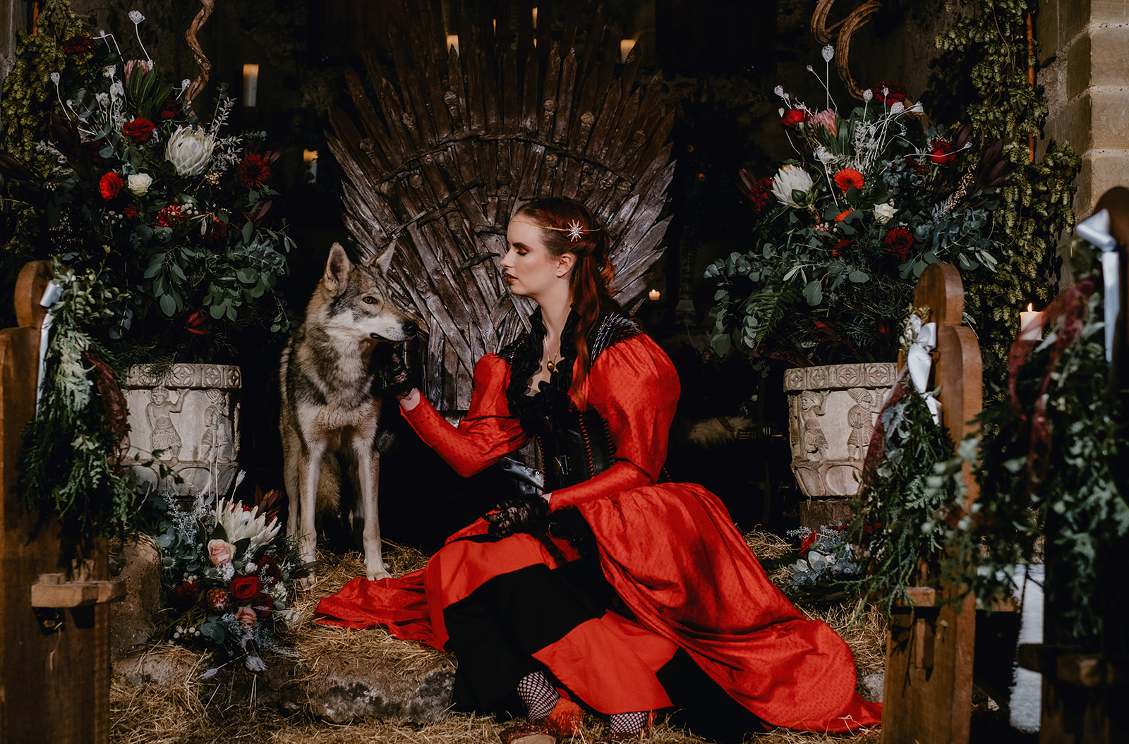 Game Of Thrones Wedding- Tom Jeavons Photography- Unconventional Wedding- Fantasy Wedding- Themed Wedding- red wedding dress- quirky wedding dress