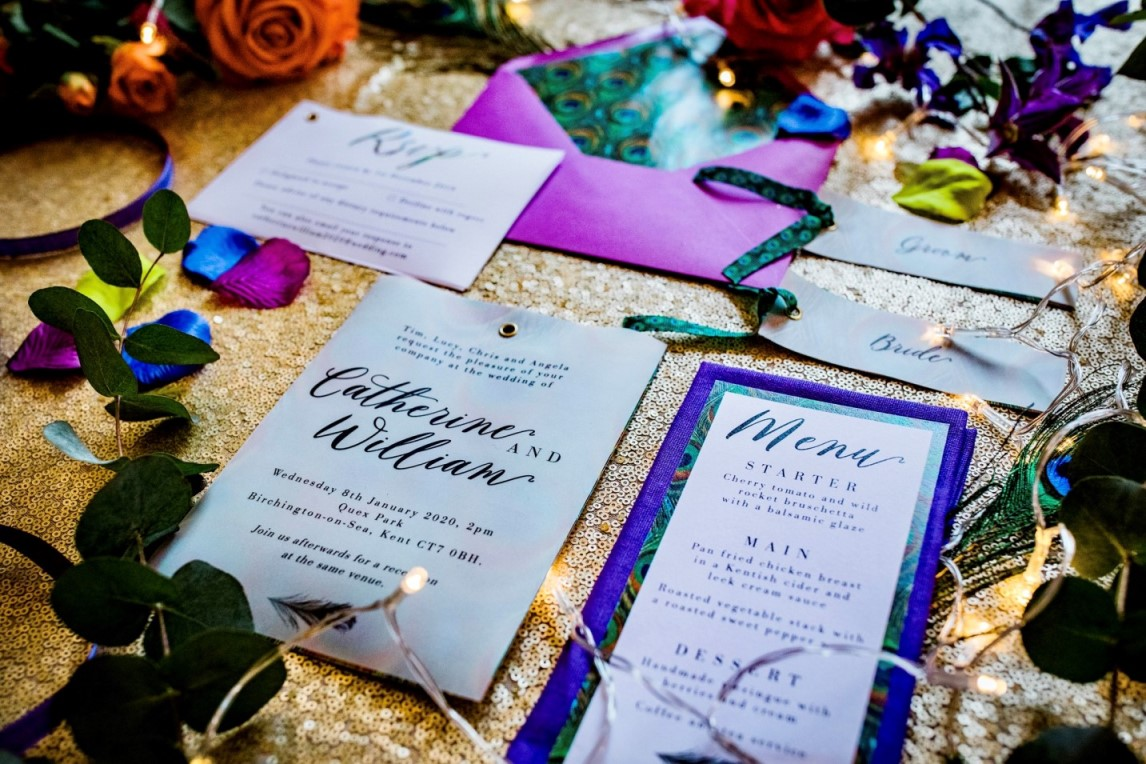 peacock wedding- unconventional wedding- peacock wedding stationery- peacock wedding invitations- unique wedding invitations