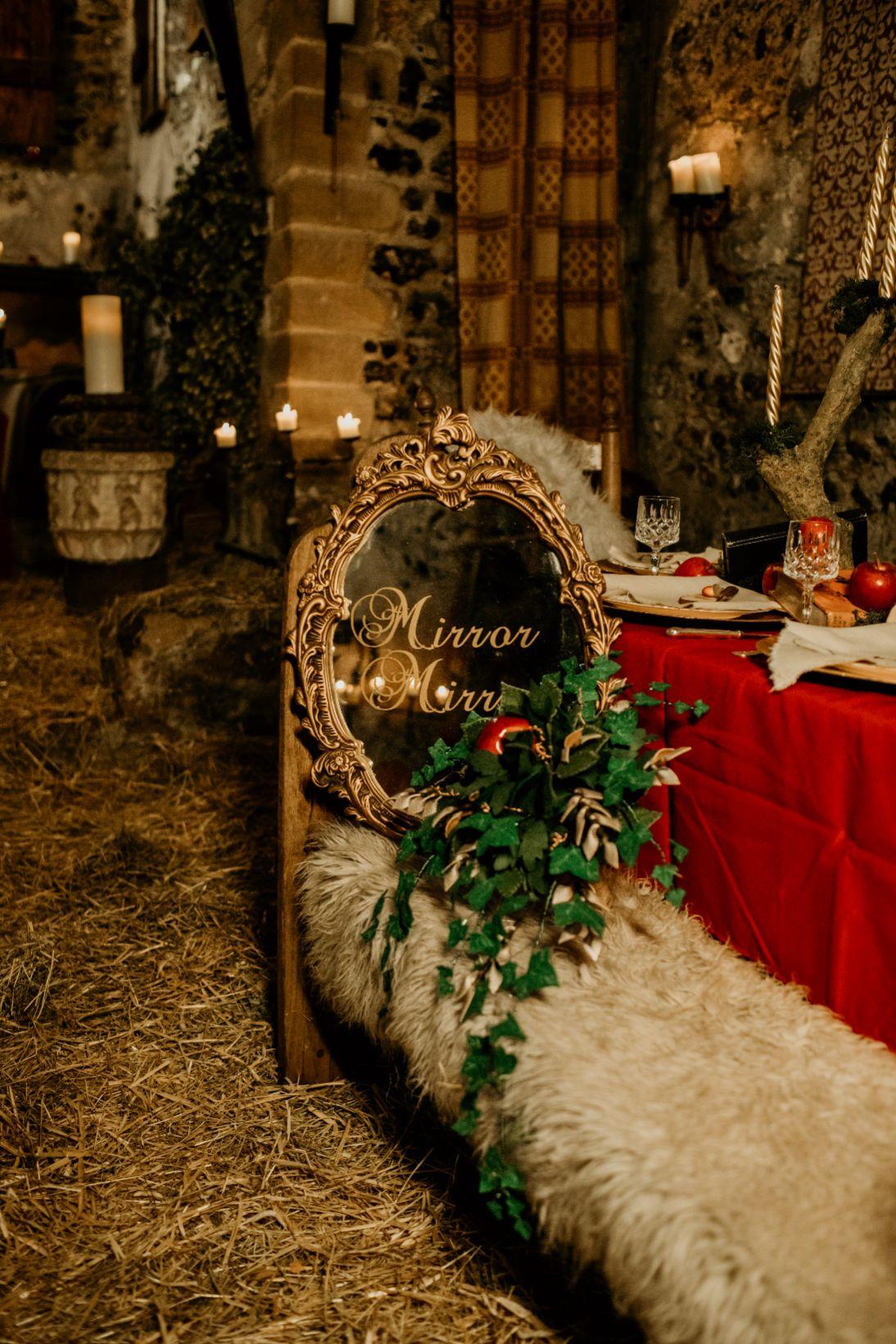 alternative fairytale wedding- snow white wedding- charlotte laurie designs-chloe mary photo- unconventional wedding- alternative wedding inspiration- snow white wedding