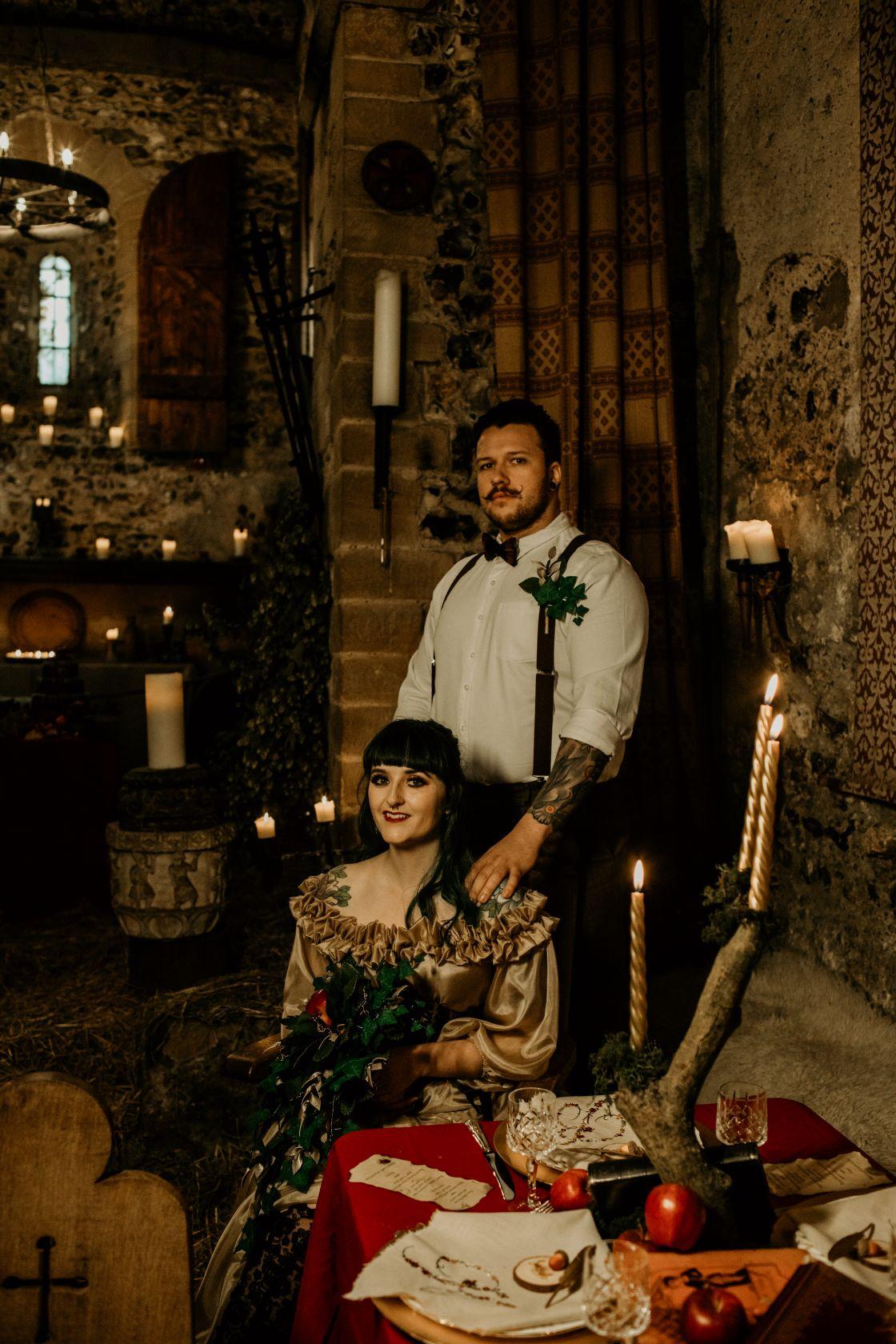 alternative fairytale wedding- snow white wedding- charlotte laurie designs-chloe mary photo- unconventional wedding- alternative wedding inspiration- dark fairytale wedding