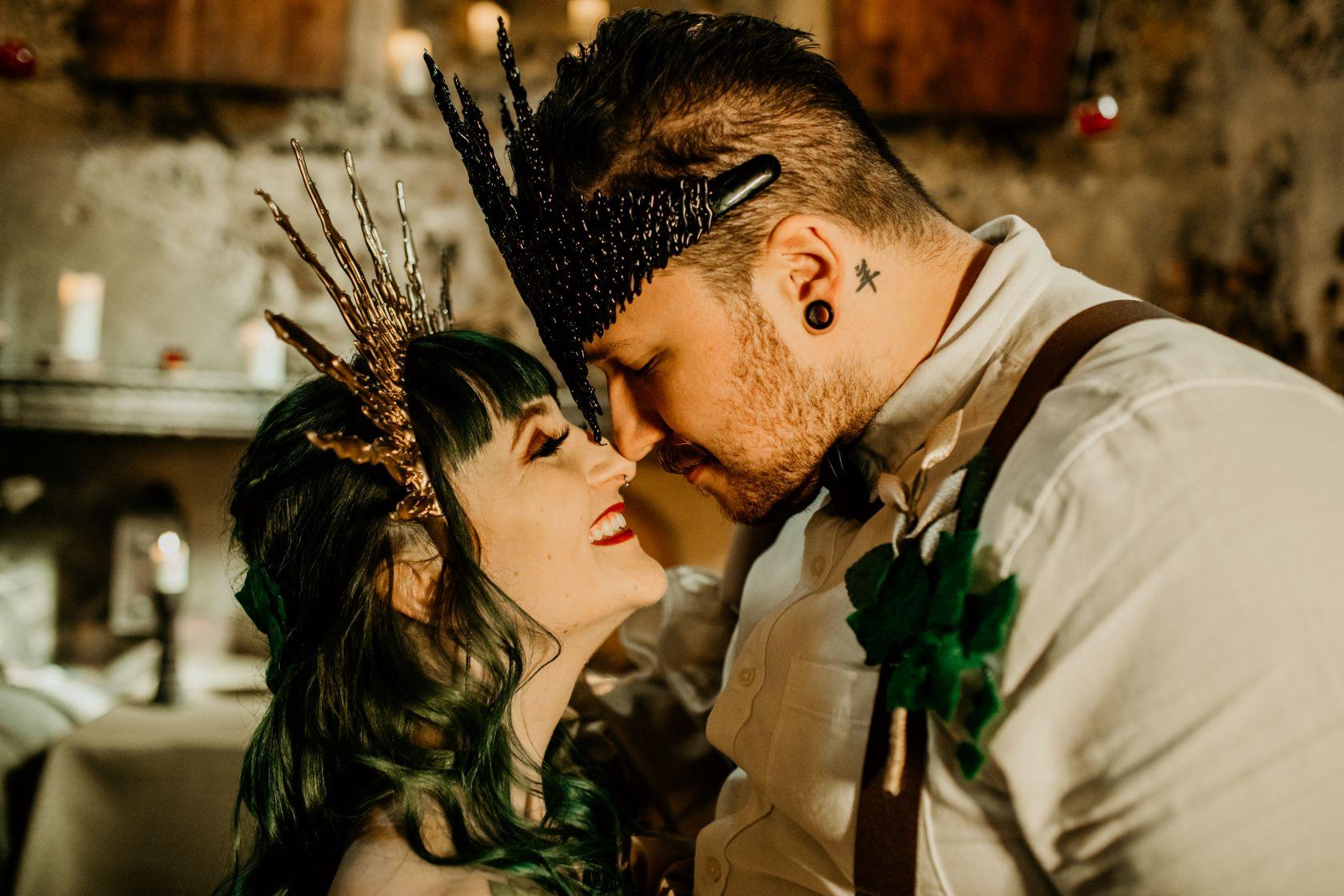 alternative fairytale wedding- snow white wedding- charlotte laurie designs-chloe mary photo- unconventional wedding- alternative wedding inspiration- alternative wedding headpiece