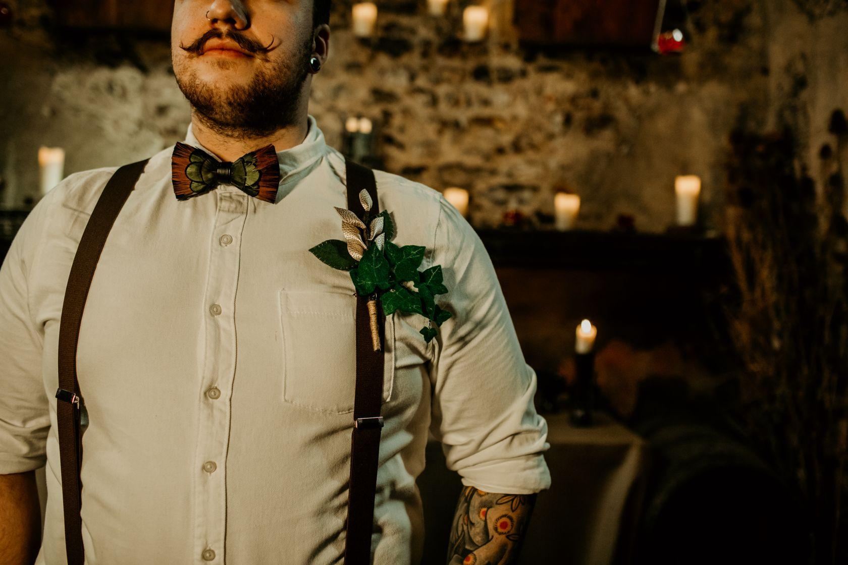 alternative fairytale wedding- snow white wedding- charlotte laurie designs-chloe mary photo- unconventional wedding- alternative wedding inspiration- bespoke wedding buttonhole