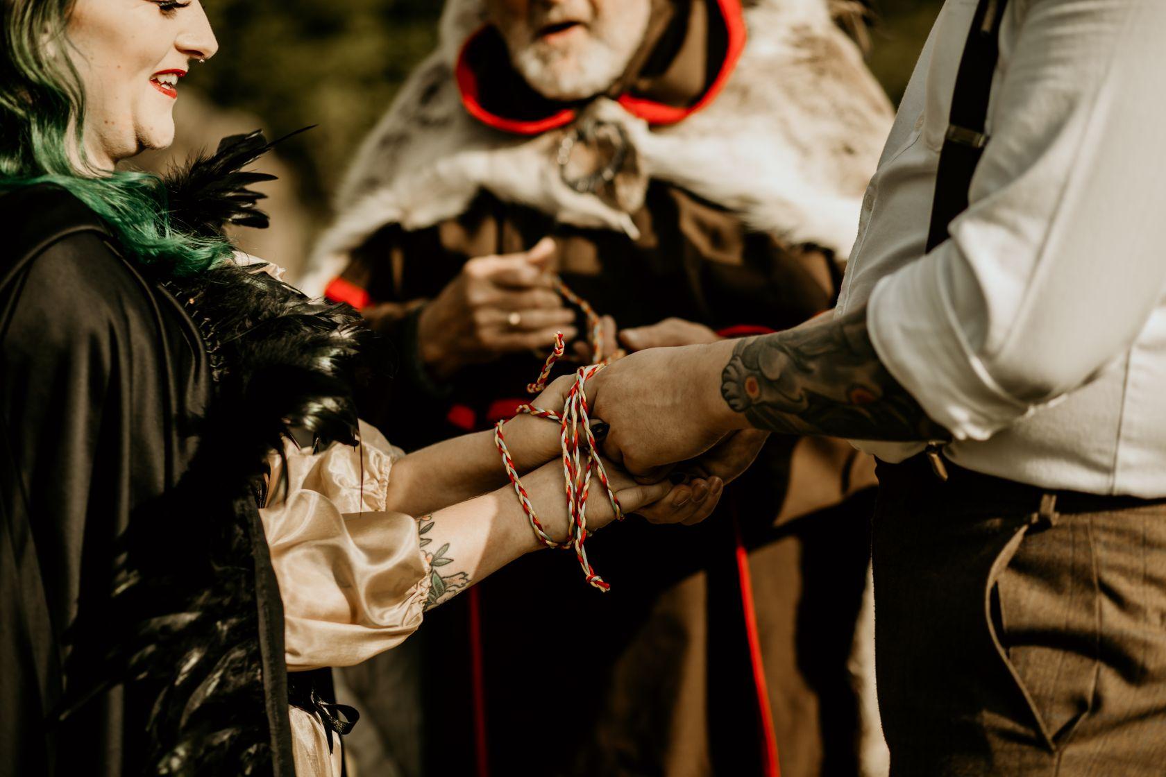 alternative fairytale wedding- snow white wedding- charlotte laurie designs-chloe mary photo- unconventional wedding- alternative wedding inspiration-handfasting ceremony- handfasting wedding