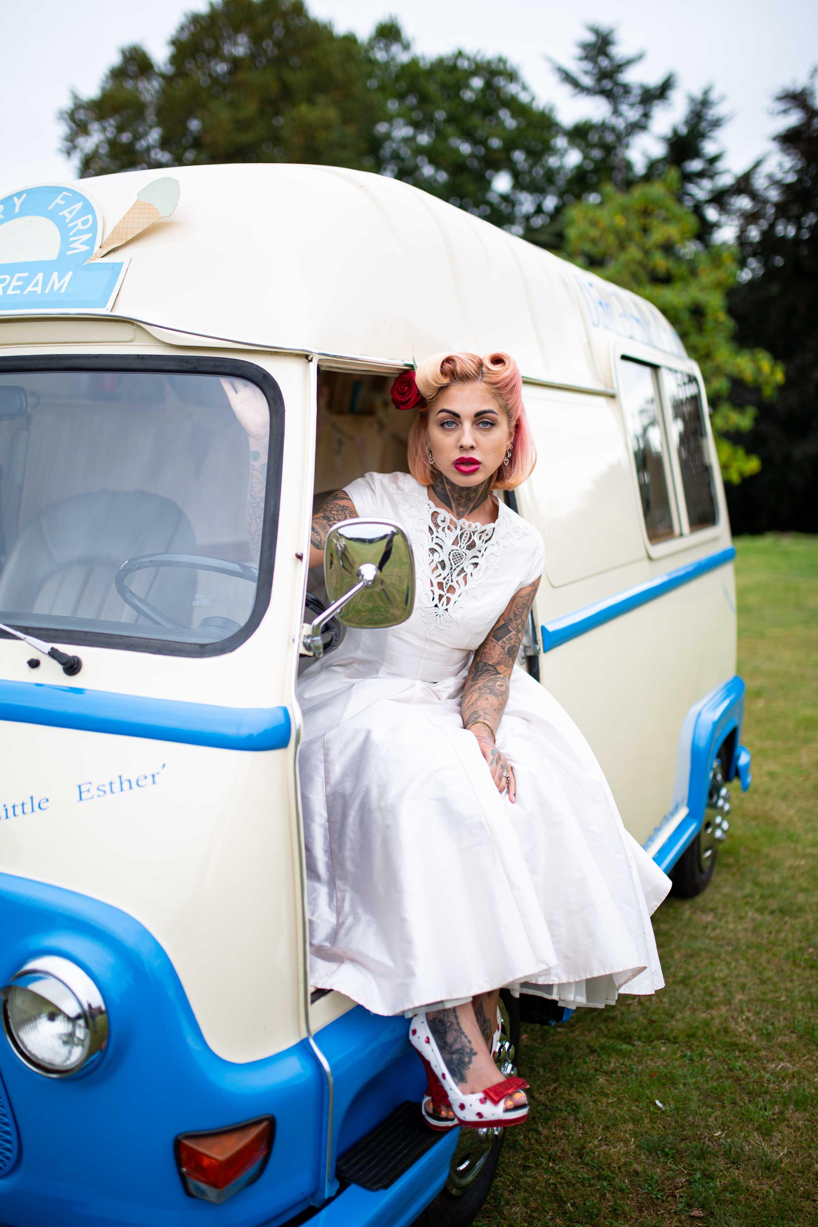 iconic wedding looks- music themed wedding- unconventional wedding- alternative wedding- wedding ice cream van- retro wedding dress- retro bride- rock and roll wedding dress- lindy bop wedding dress