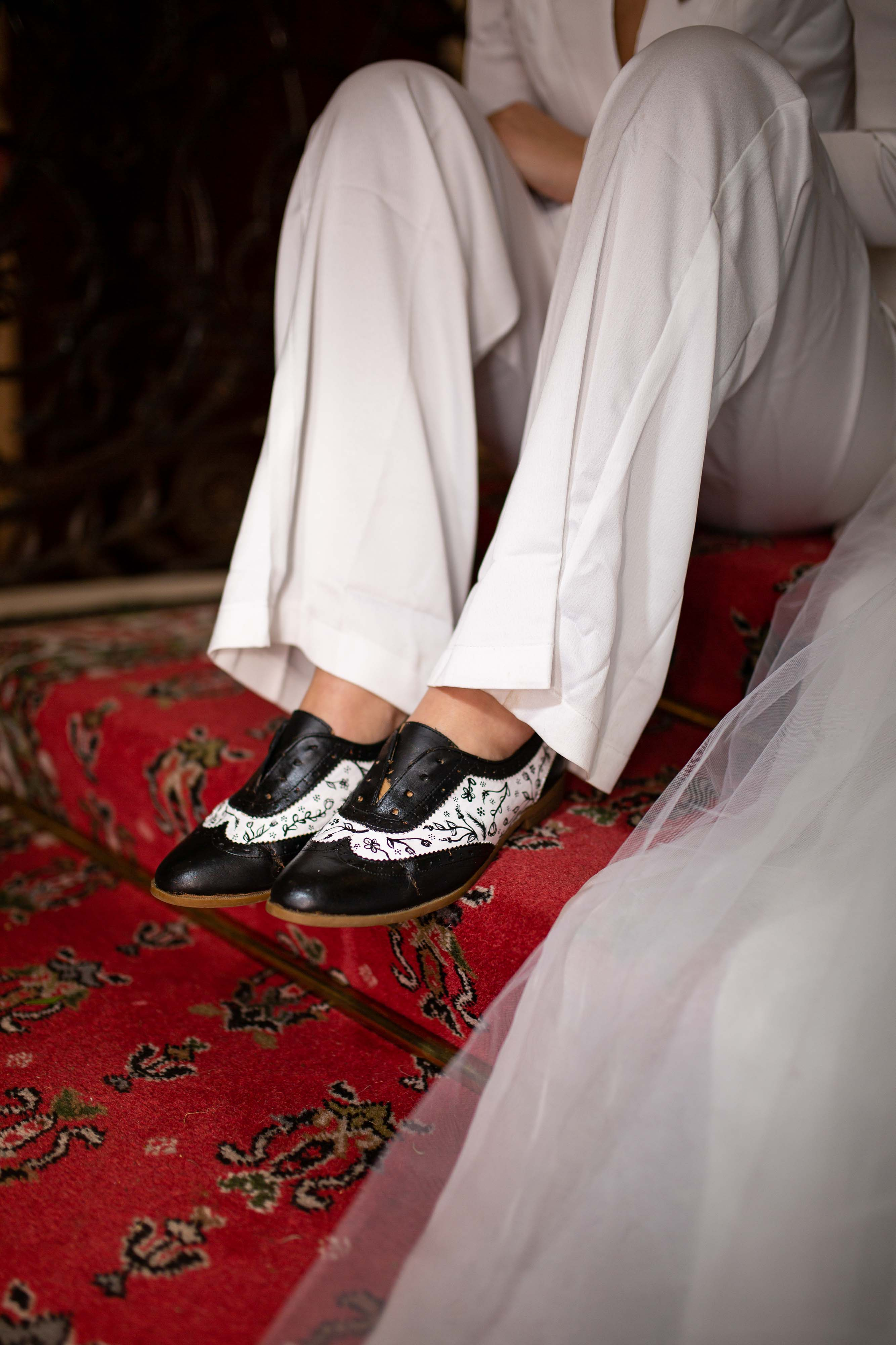 iconic wedding looks- music themed wedding- unconventional wedding- alternative wedding- womens flat wedding shoes- unique wedding shoes