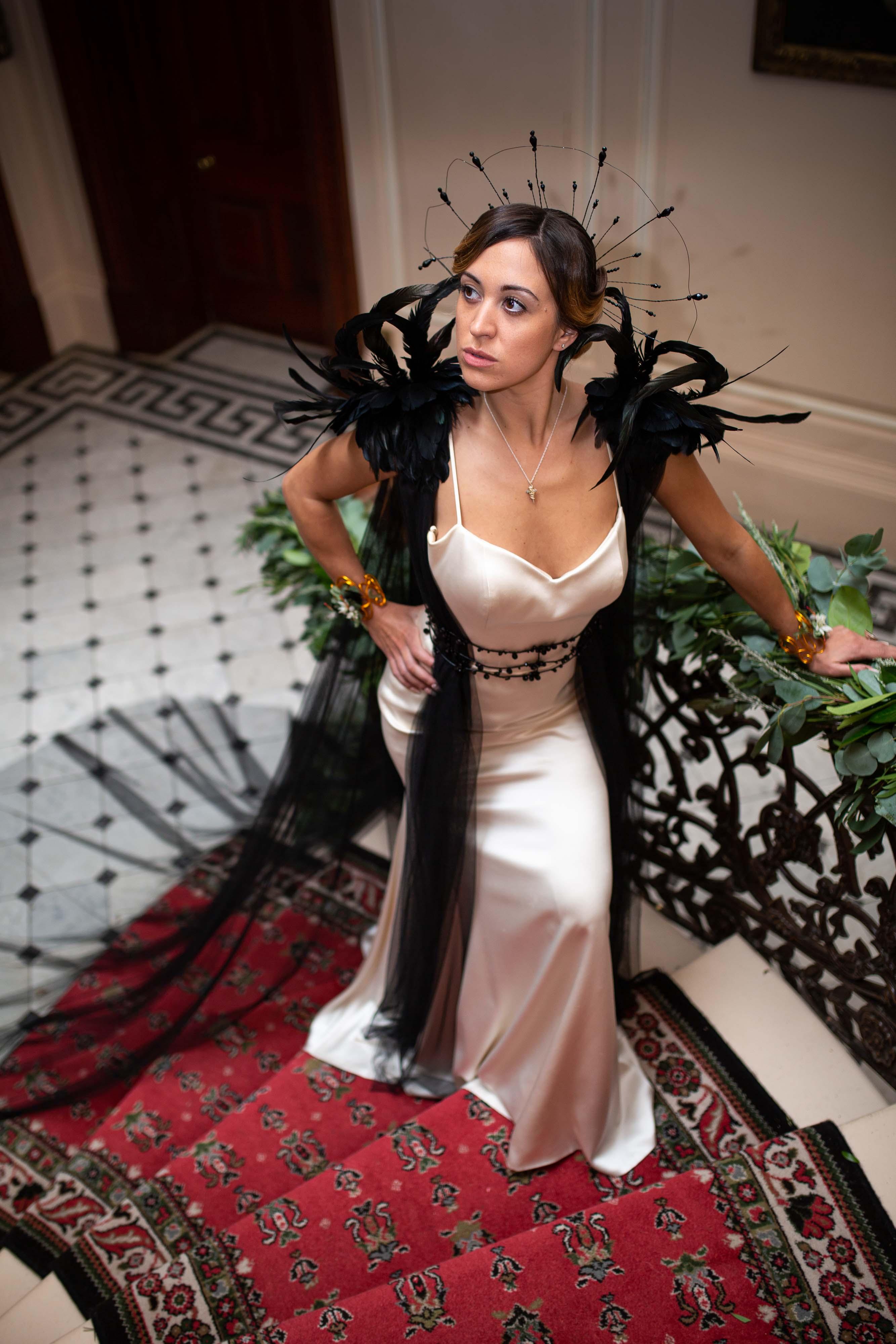 iconic wedding looks- music themed wedding- unconventional wedding- alternative wedding- lady gaga style-alternative wedding dress- unique wedding dress- lady gaga style- black and white wedding dress