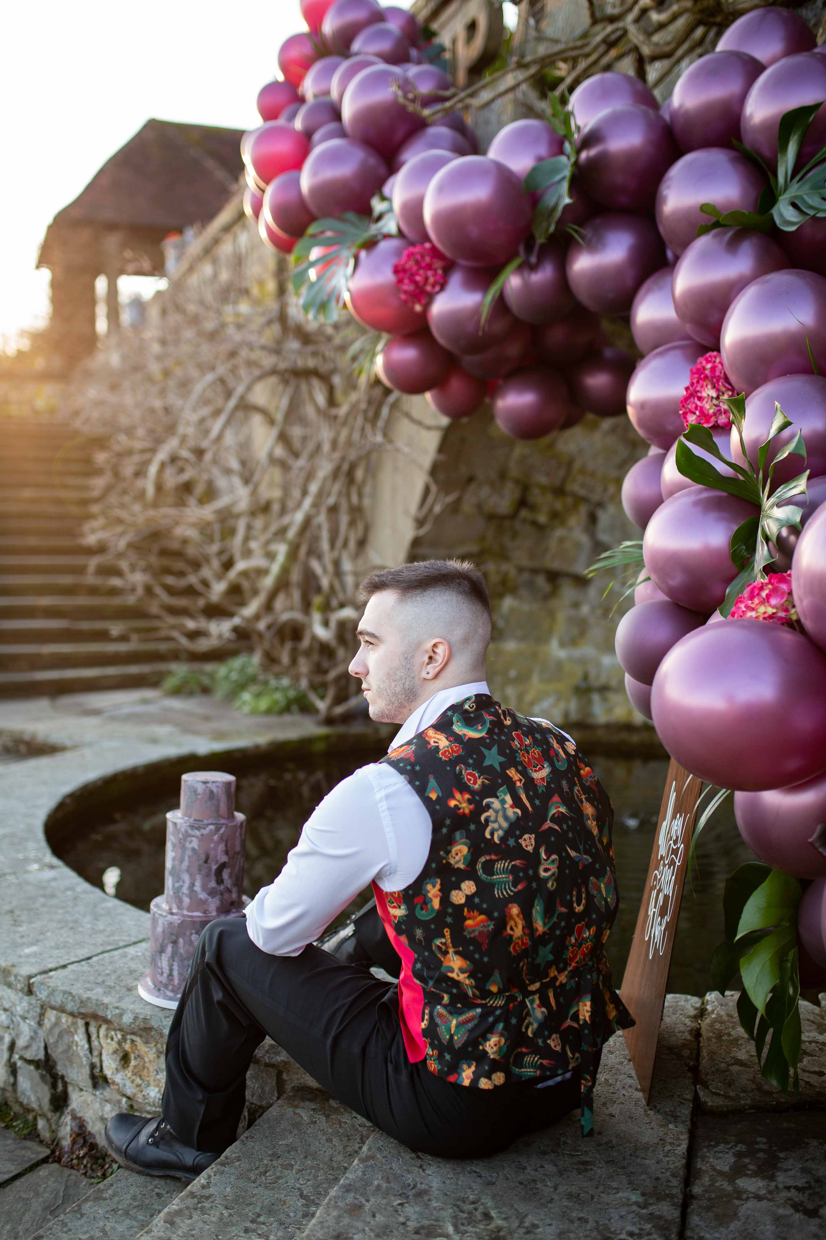 wedding menswear- alternative groomswear- music themed wedding- bake to the future- florence berry photography- unique mens waistcoat- punk wedding