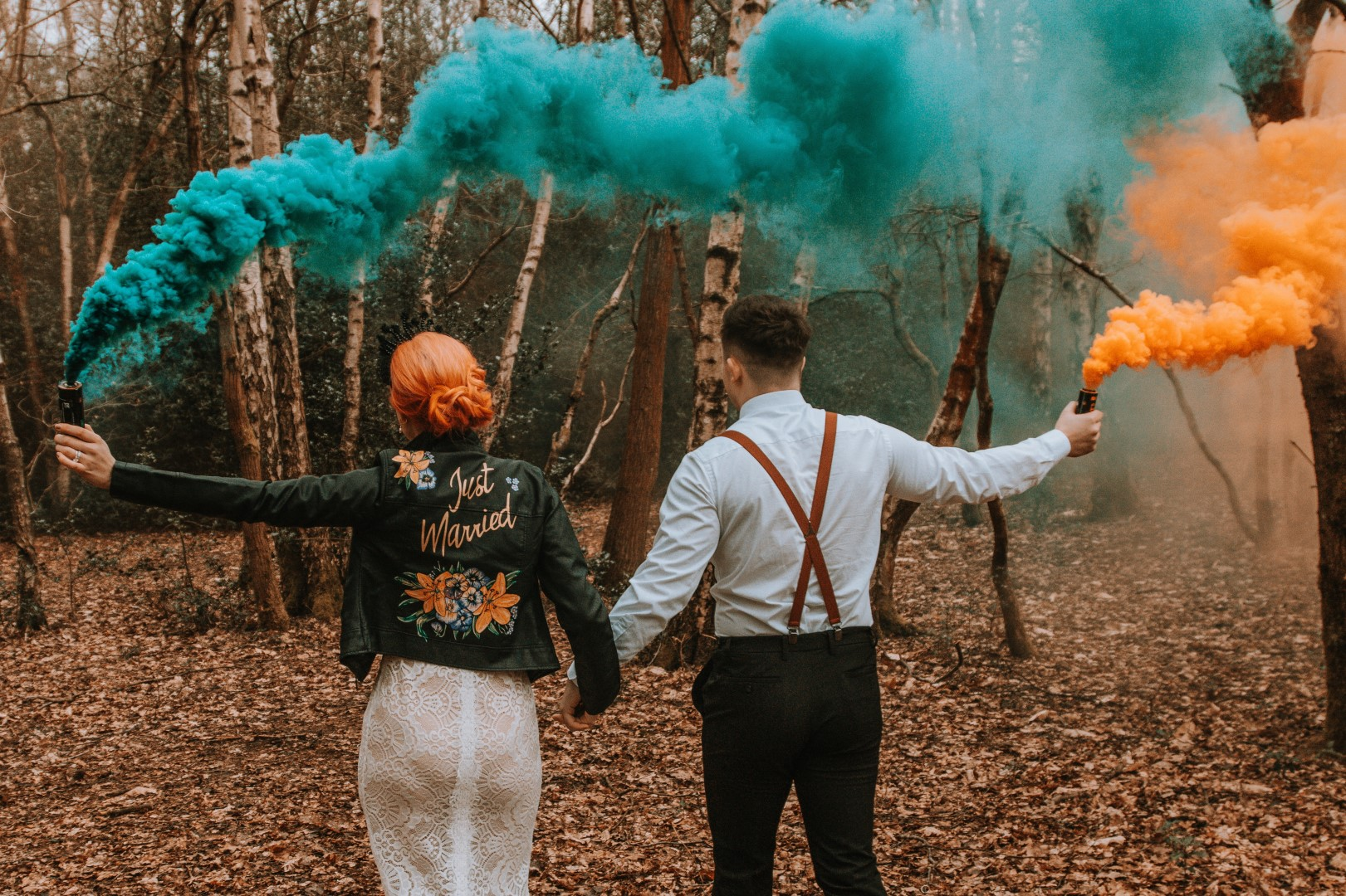 Alternative Forest Wedding - Sammy Leas Retro Emporium -Photography By Wills- alternative wedding - unconventional wedding- edgy woodland wedding- smoke bomb photography- wedding smoke bomb