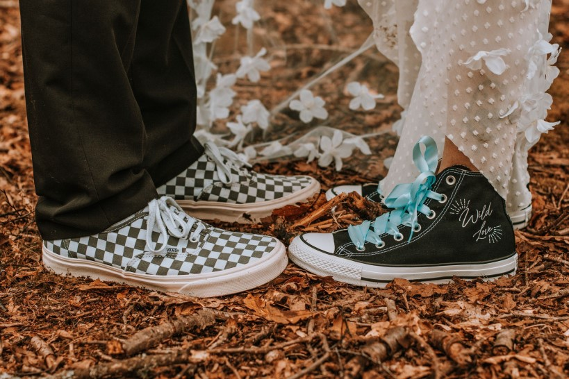 Alternative Forest Wedding - Sammy Leas Retro Emporium -Photography By Wills- alternative wedding - unconventional wedding- edgy woodland wedding- wedding converse - wedding vans