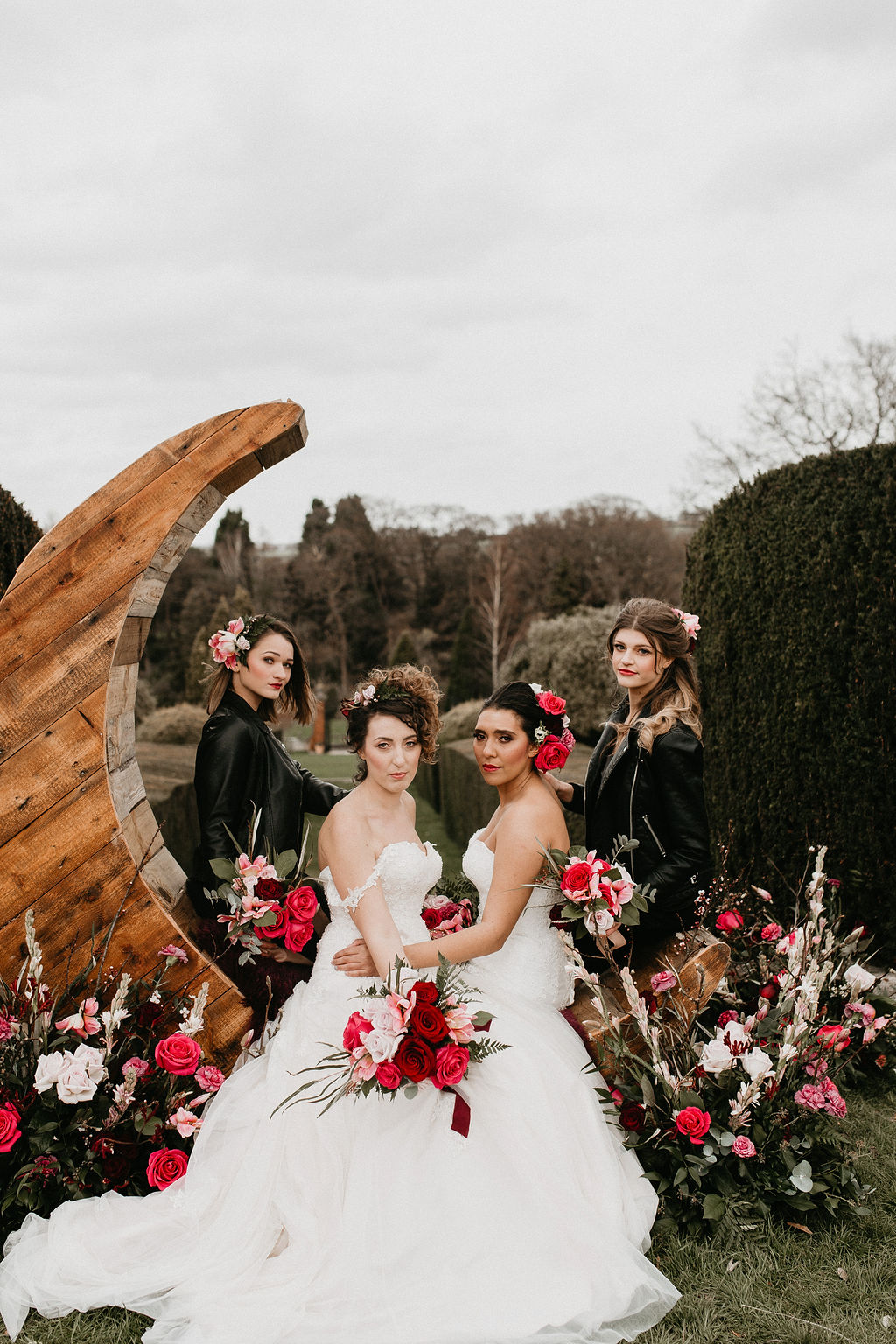 romantic woodland wedding - whimsical wedding- shakespeare wedding- unconventional wedding- wooden moon prop
