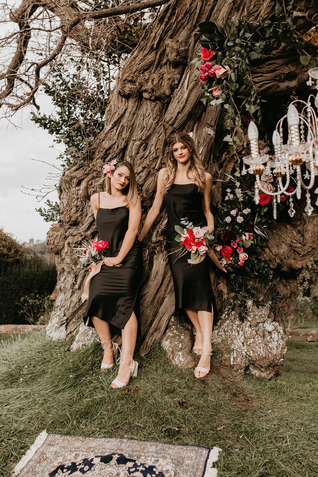 romantic woodland wedding - whimsical wedding- shakespeare wedding- unconventional wedding- black bridesmaids dresses