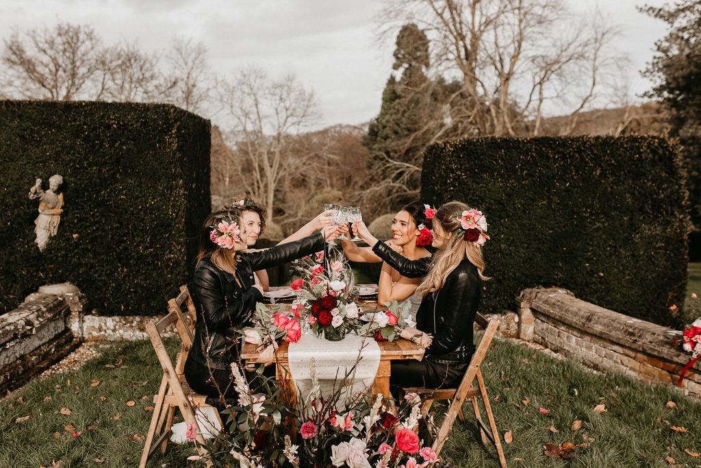 romantic woodland wedding - whimsical wedding- shakespeare wedding- unconventional wedding- wooden wedding dining table
