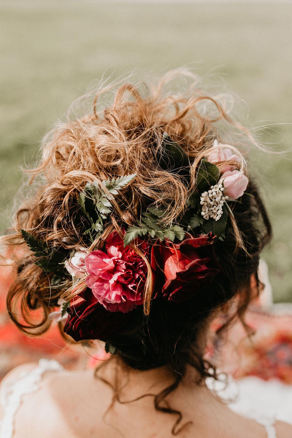 romantic woodland wedding - whimsical wedding- shakespeare wedding- unconventional wedding- wedding updo with flowers