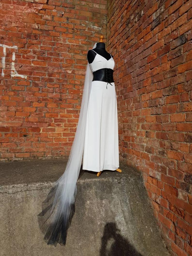 Black Wedding Dress- Dip dye veil- black dip dye veil- Bexbrides