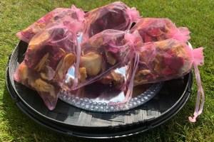 Uniquely funky eco confetti - loose confetti for weddings - pink confetti bags