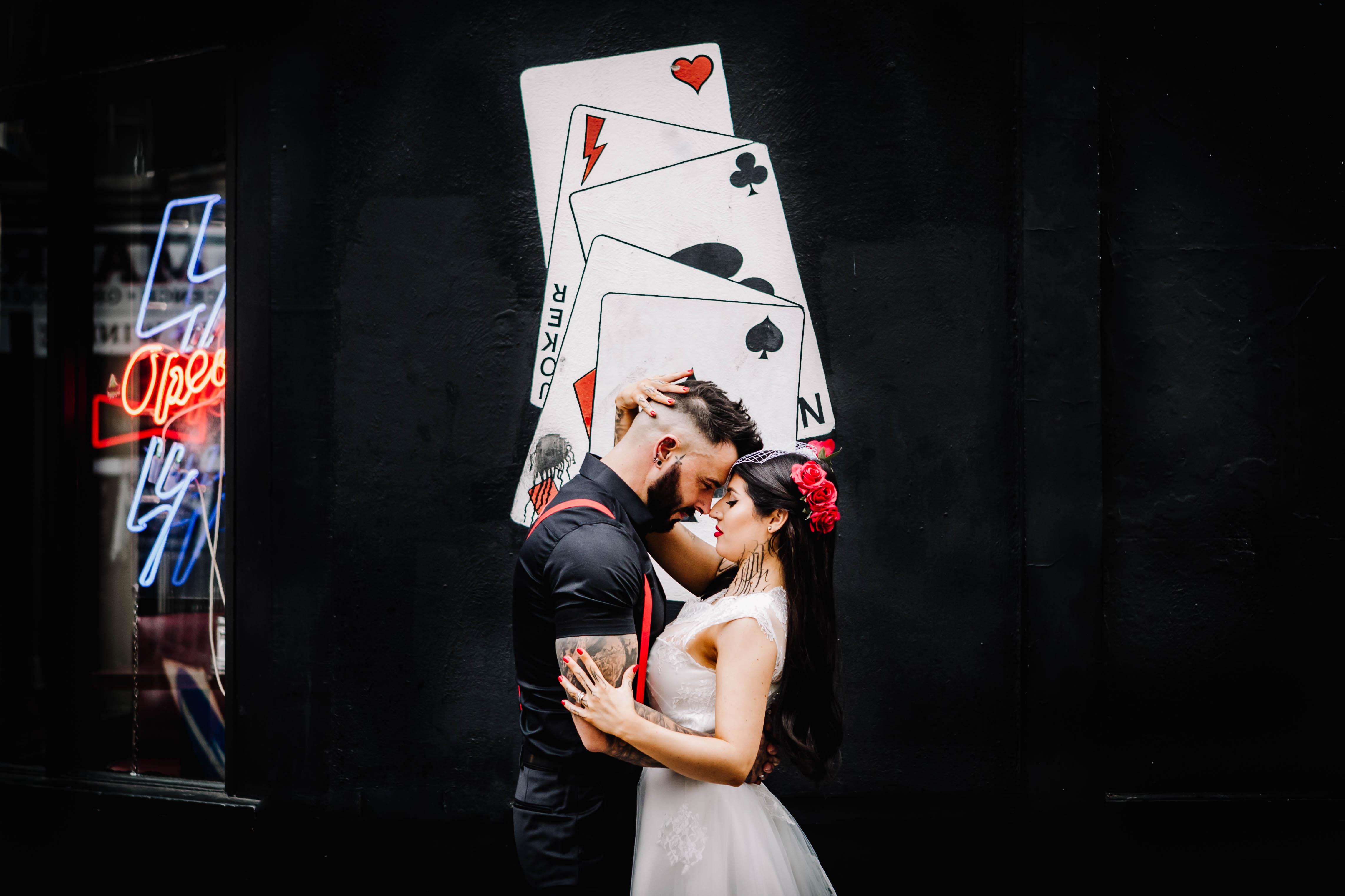 Urban Rockabilly Wedding - Urban Wedding - Magpie-Eye Photography- Unconventional Wedding- rockabilly couple