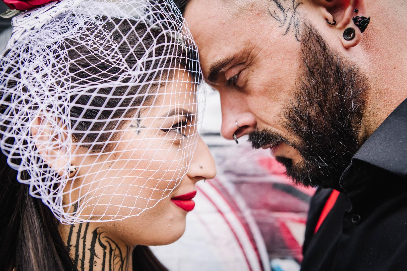 Urban Rockabilly Wedding - Urban Wedding - Magpie-Eye Photography- Unconventional Wedding- alternative couple wedding photos