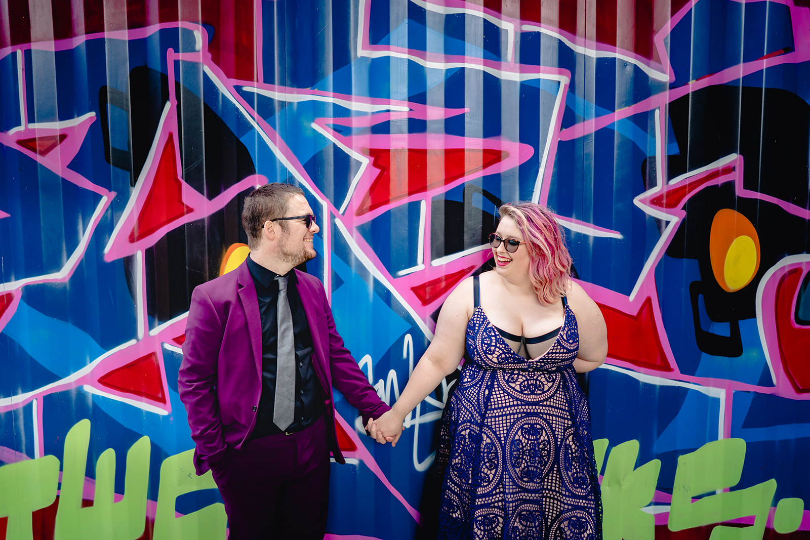 engagement shoots - birmingham engagement shoot - colourful wedding photoshoot - quirky wedding photos - fun wedding photography - alternative wedding - graffiti wedding photoshoot