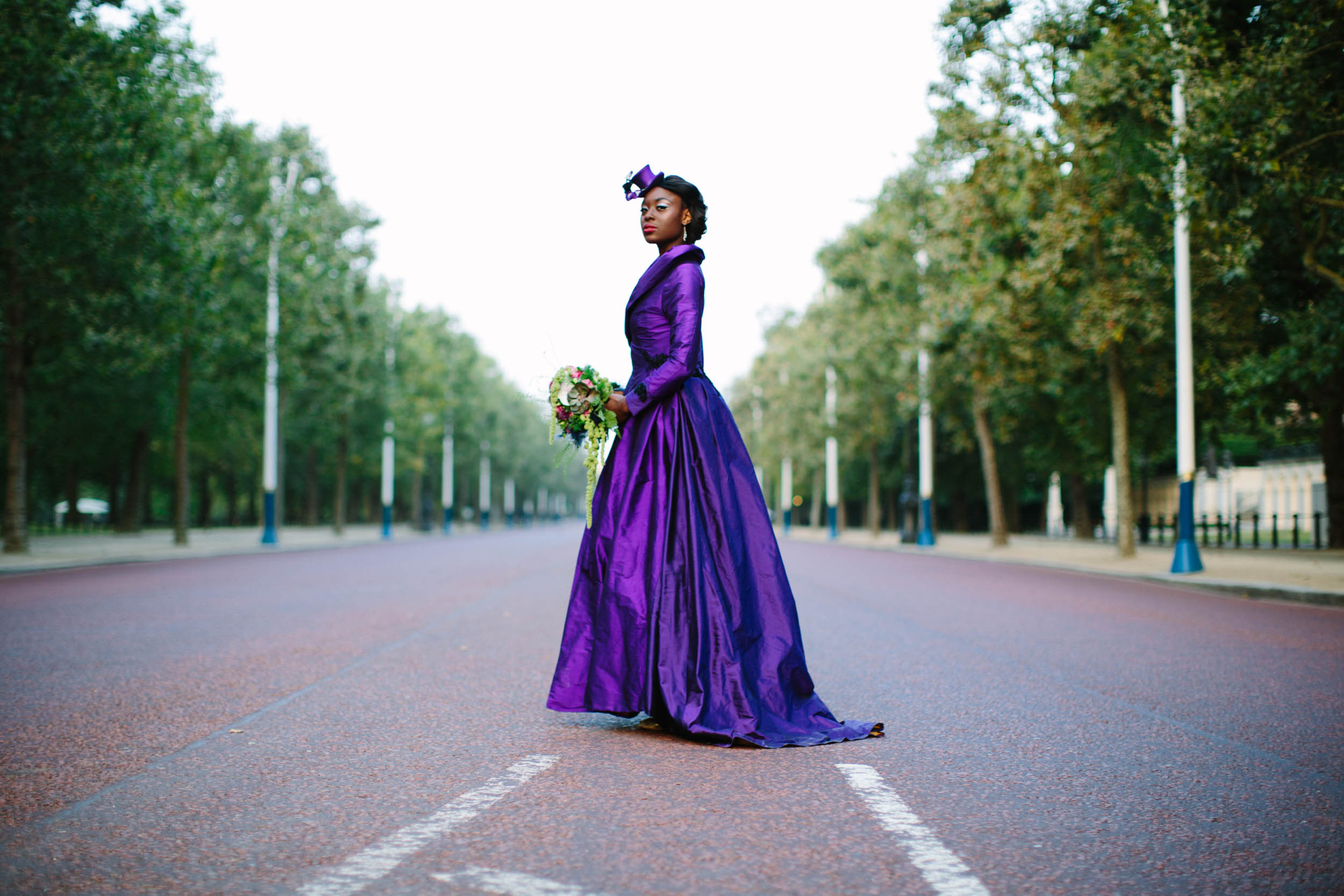 purple wedding dress - burlesque wedding - alternative bridal wear - unique wedding dress - unique wedding coat - coloured wedding dress